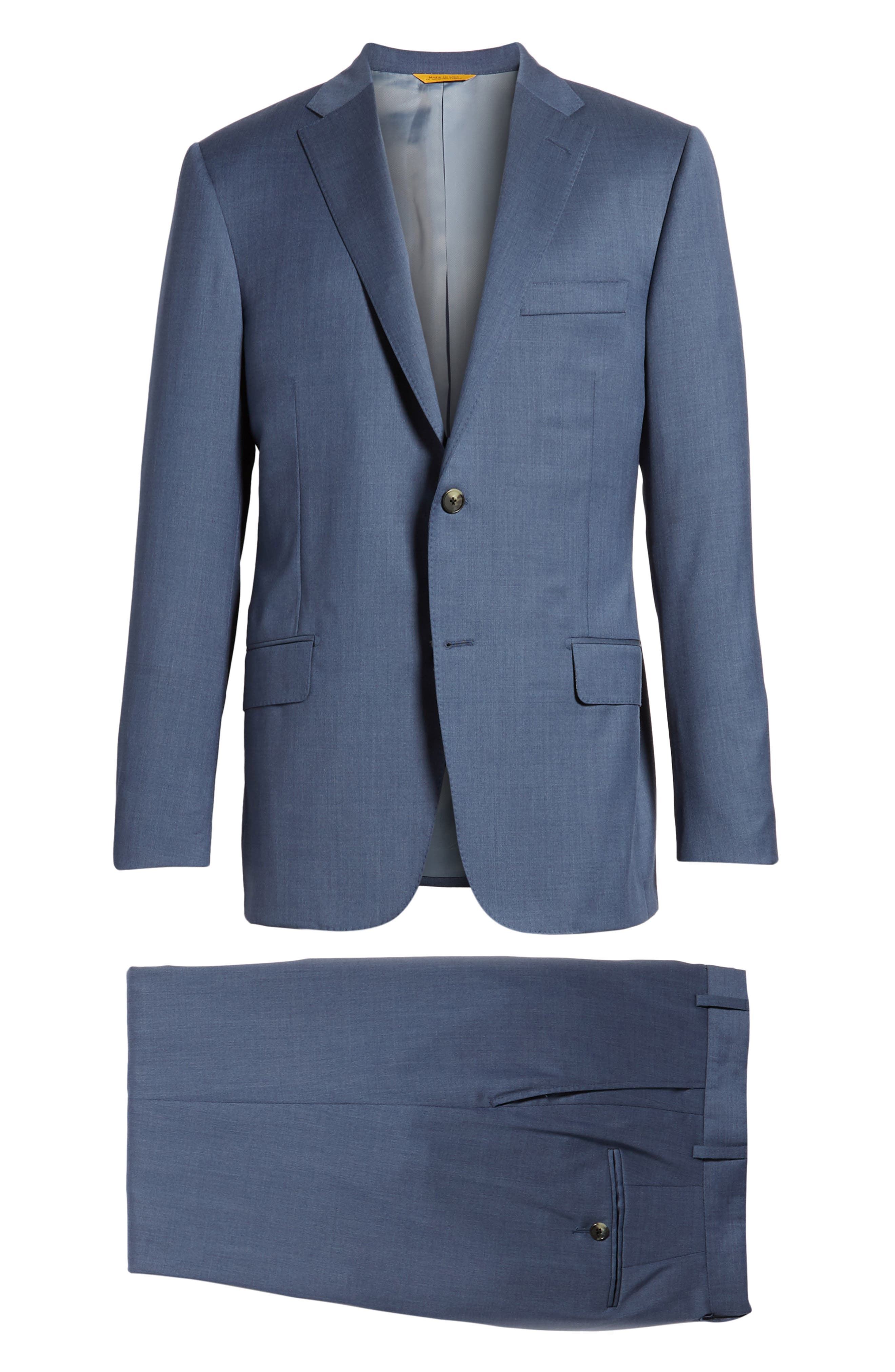 Classic B Fit Solid Wool Suit,                             Alternate thumbnail 8, color,                             499