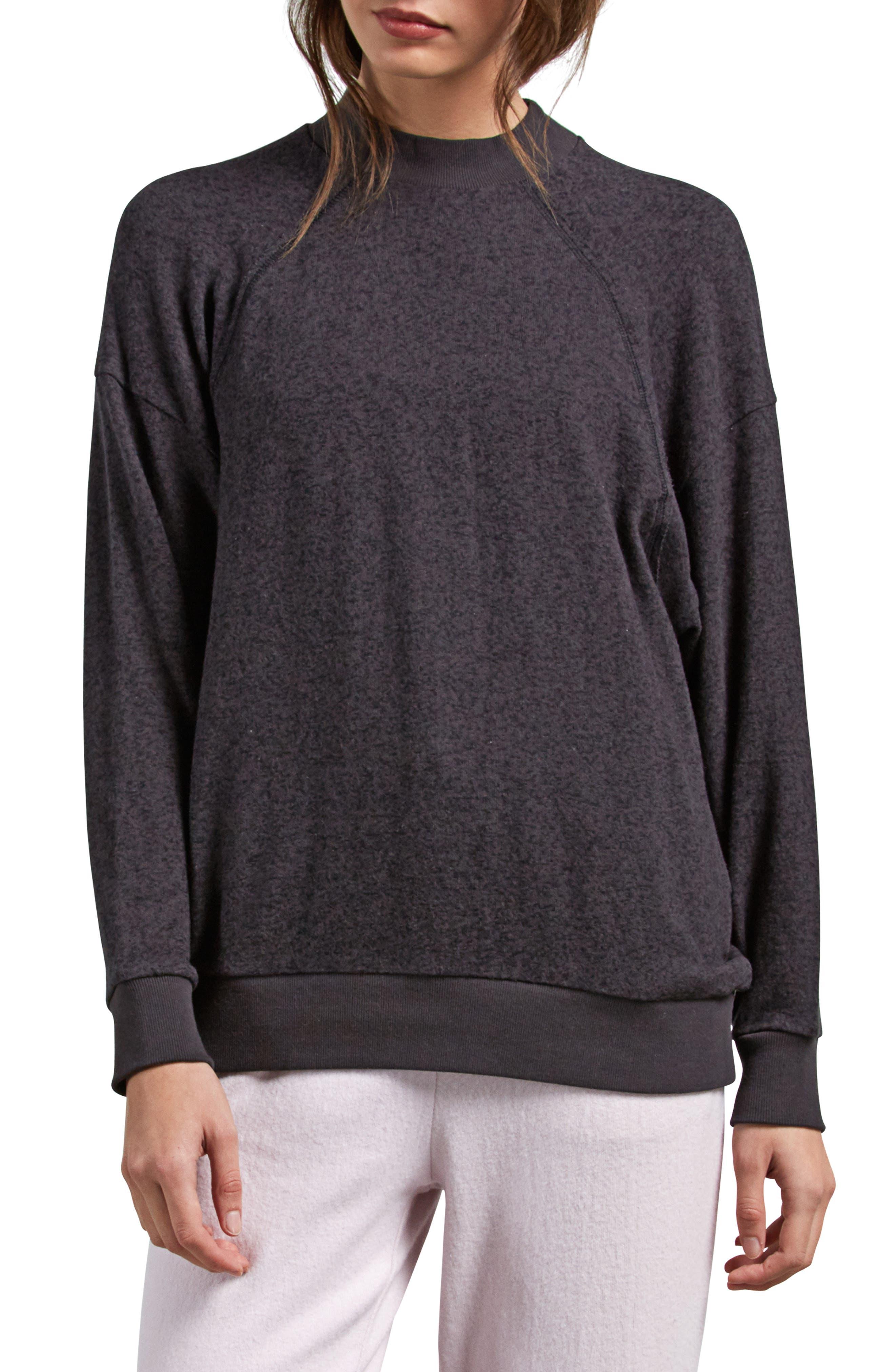 Lil Mock Neck Fleece Sweatshirt,                         Main,                         color, VINTAGE BLACK