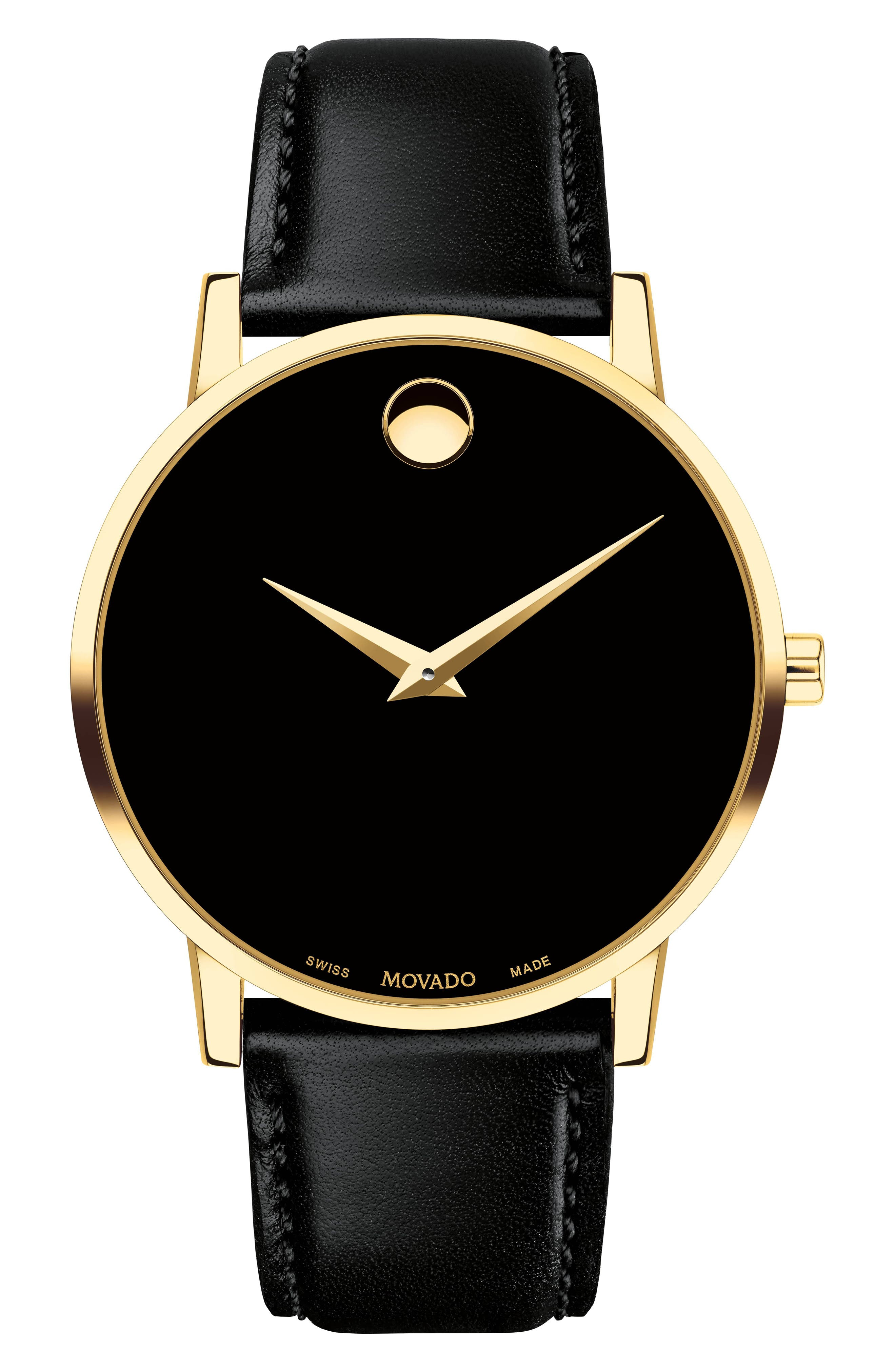 Leather Strap Watch, 40mm,                         Main,                         color, BLACK/ GOLD
