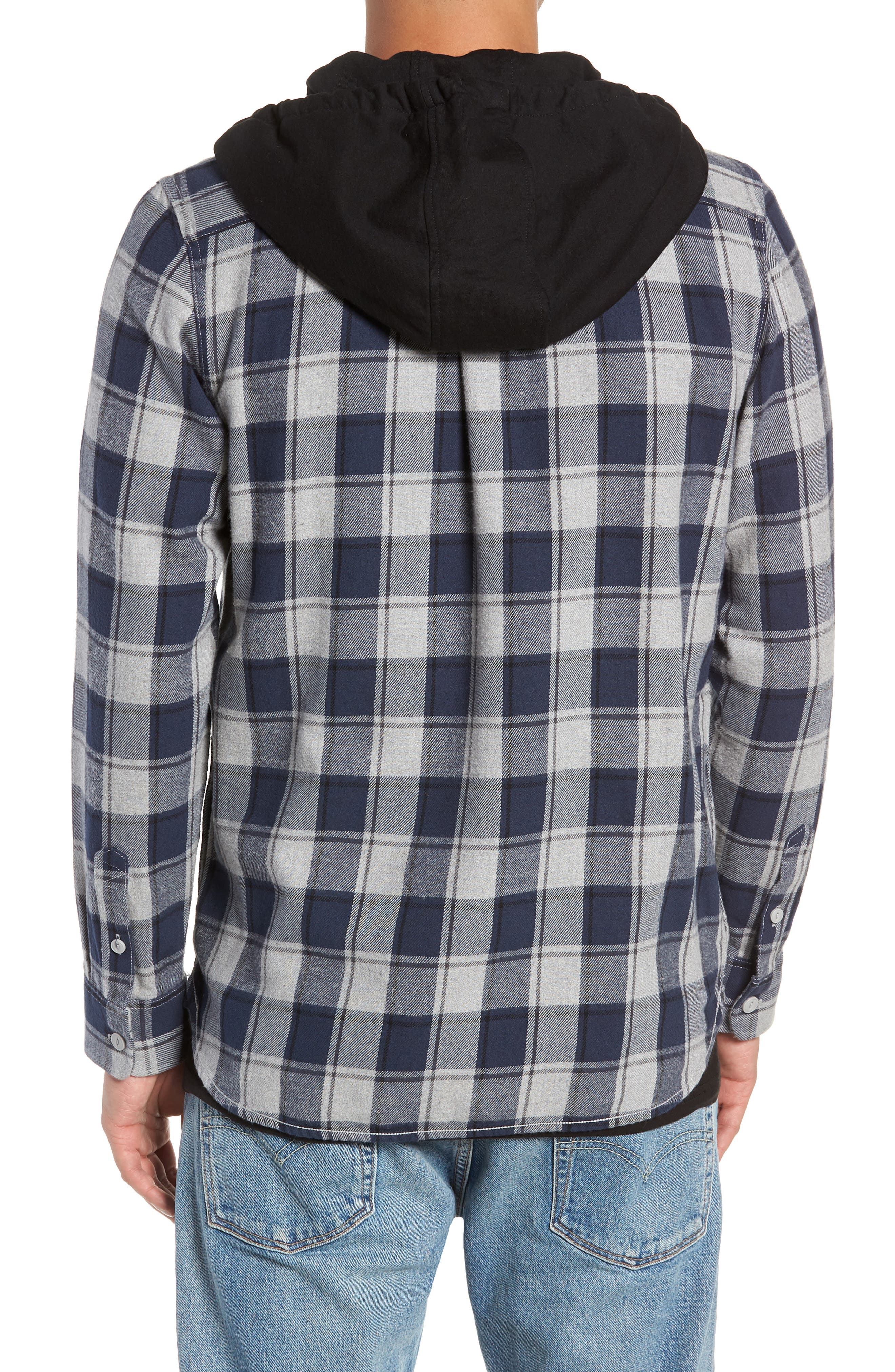 Lopes Hooded Plaid Flannel Jacket,                             Alternate thumbnail 2, color,                             DRESS BLUES/ GREY HEATHER