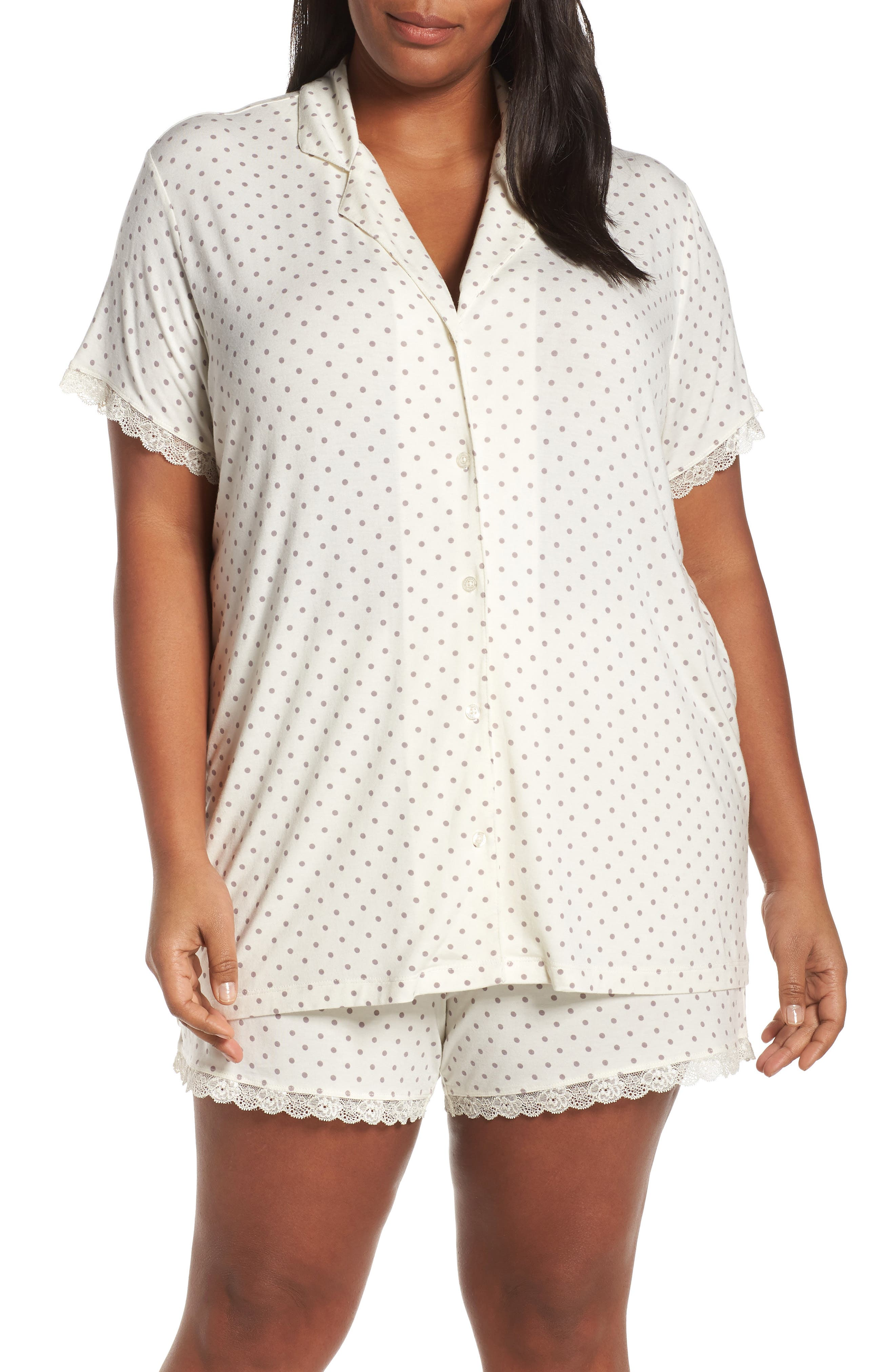 Plus Size Nordstrom Lingerie Moonlight Shortie Pajamas, Ivory