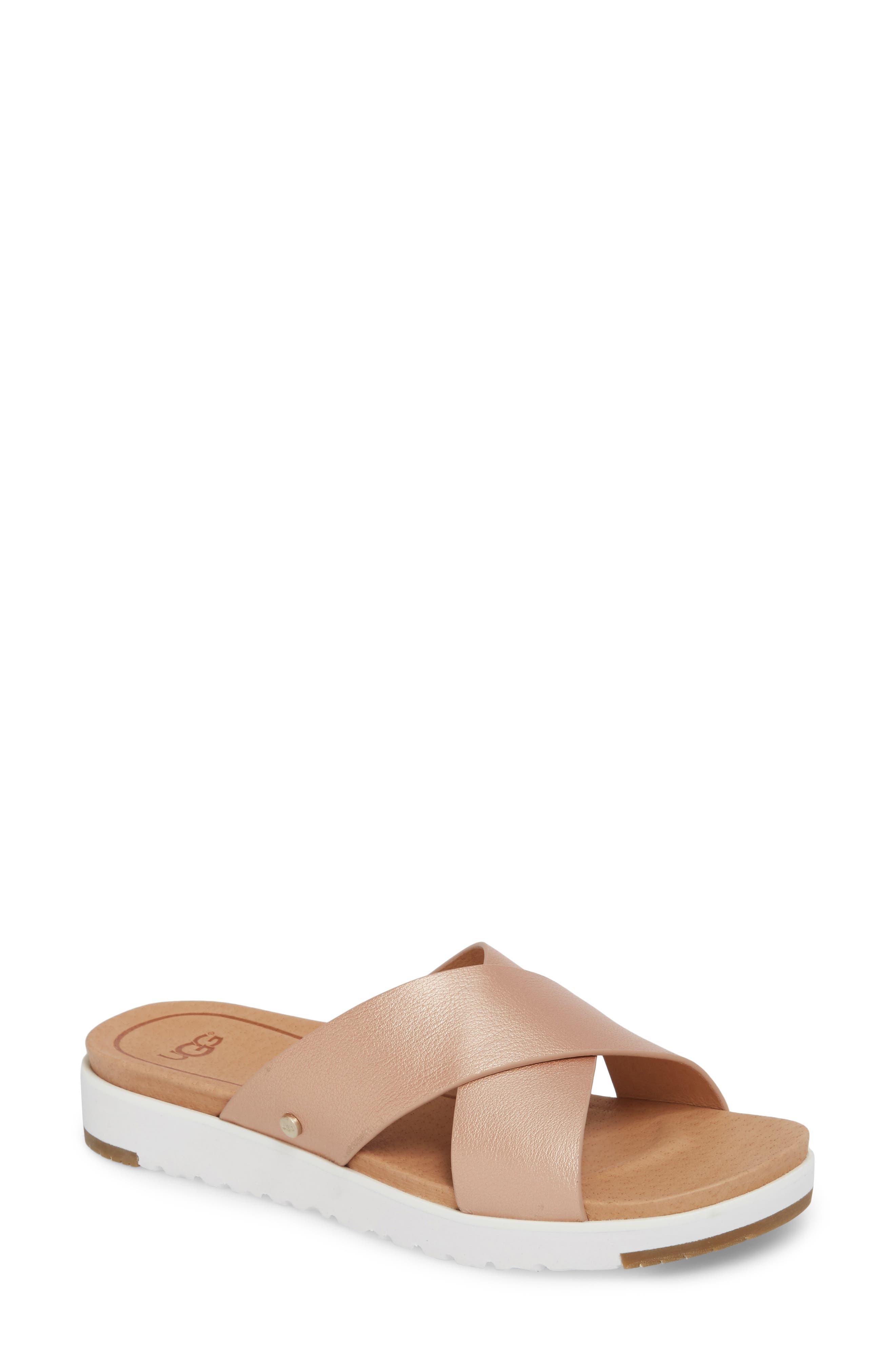 Kari Slide Sandal,                         Main,                         color, ROSE GOLD LEATHER
