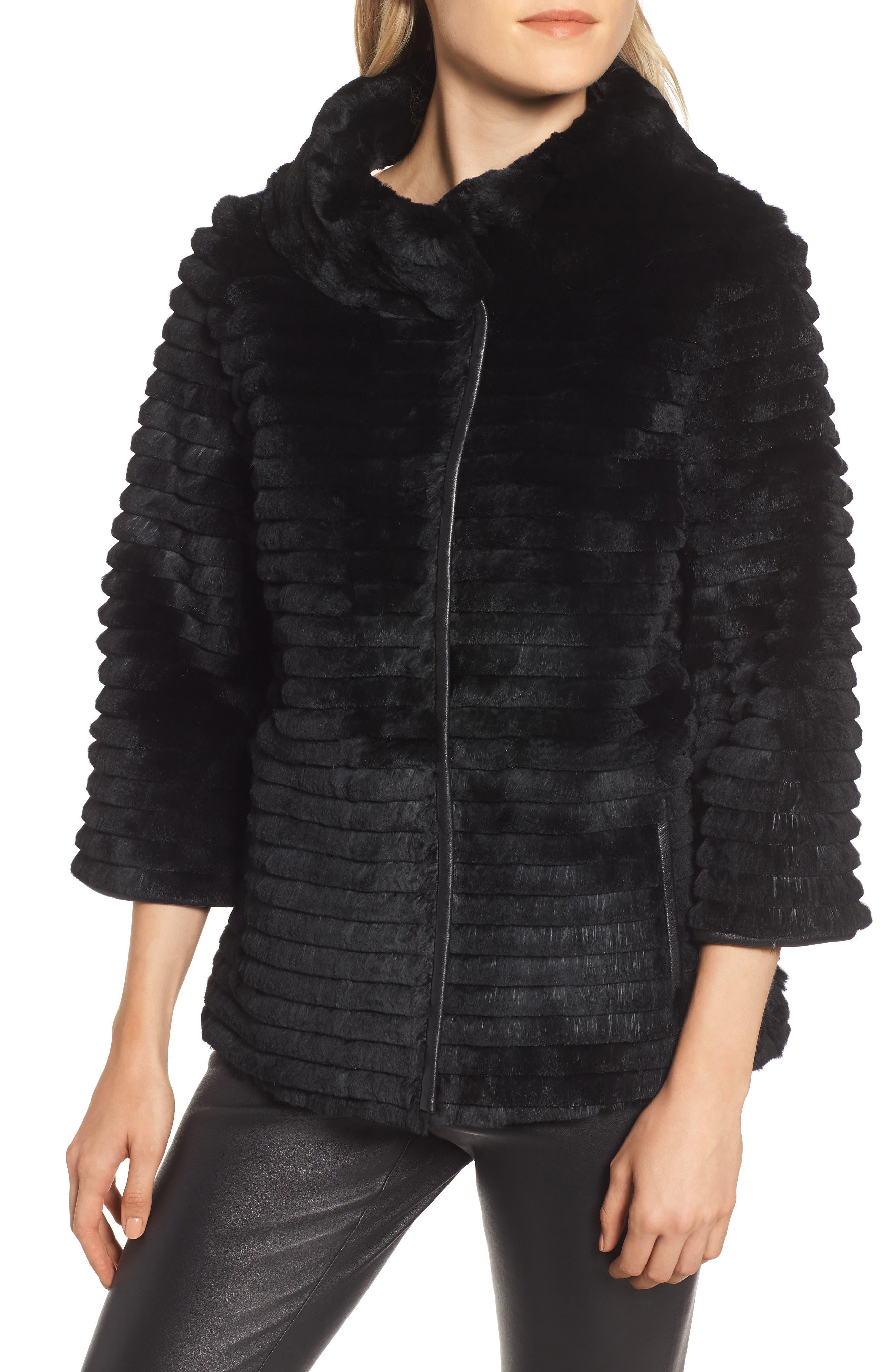 Genuine Rex Rabbit Fur Crop Jacket,                             Alternate thumbnail 4, color,                             BLACK