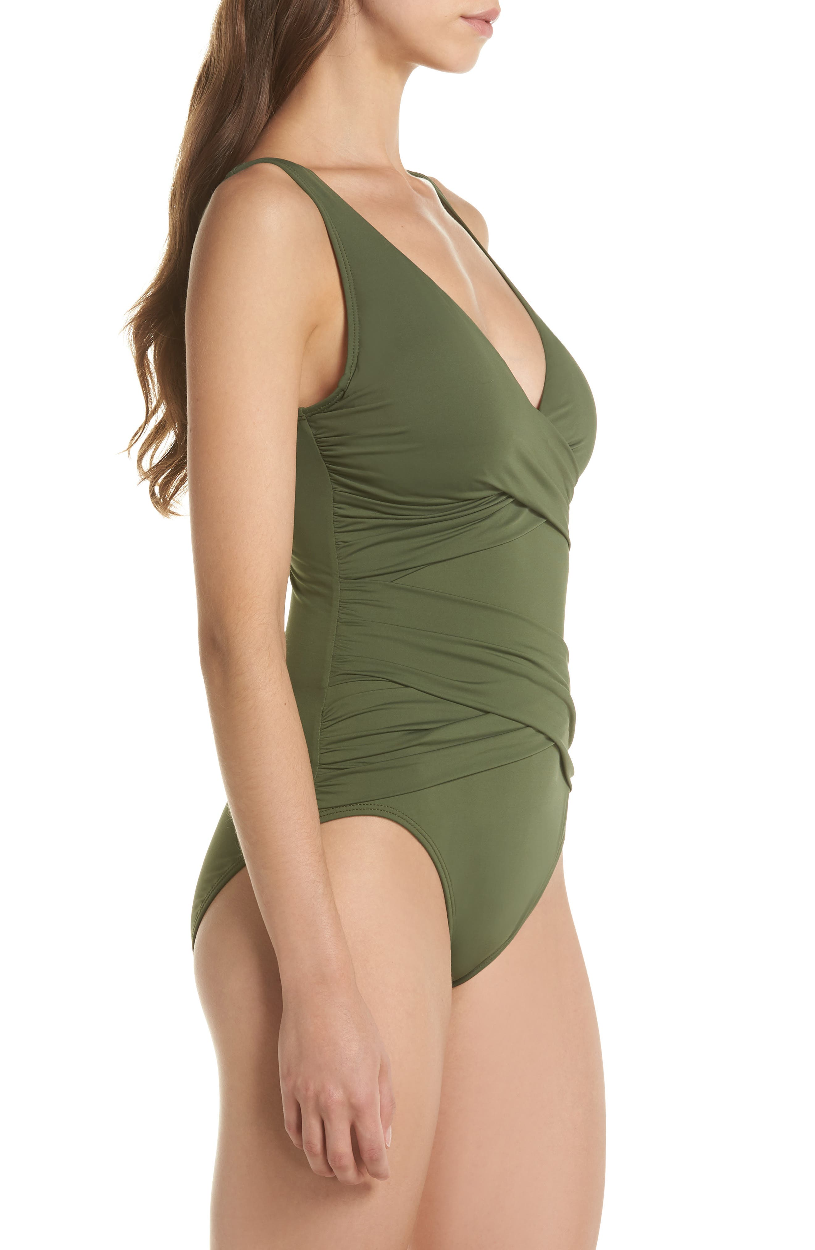 TOMMY BAHAMA,                             Pearl One-Piece Swimsuit,                             Alternate thumbnail 3, color,                             DARK TEA LEAF