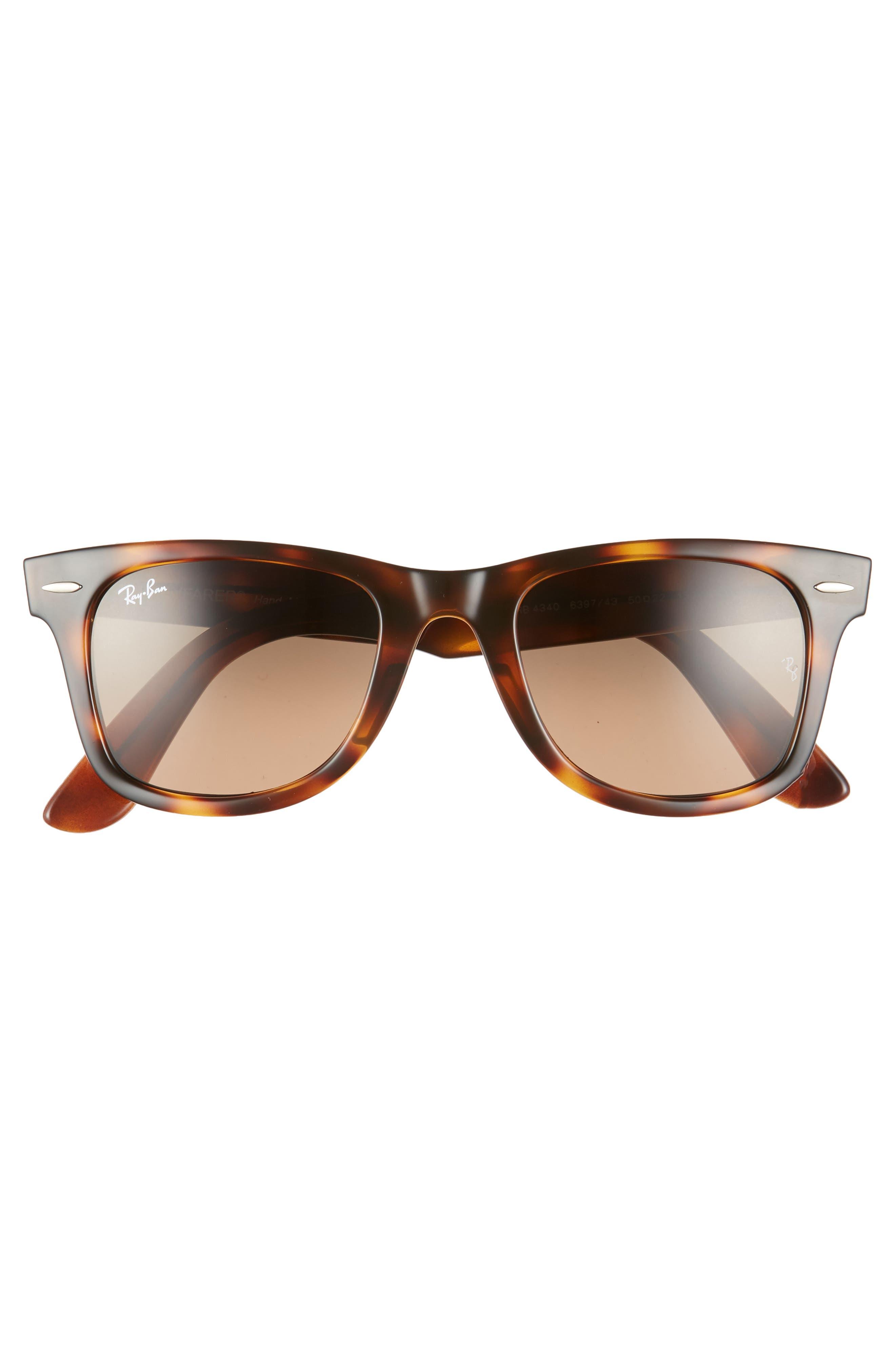 RAY-BAN,                             Wayfarer 50mm Gradient Sunglasses,                             Alternate thumbnail 2, color,                             BROWN/ GREY