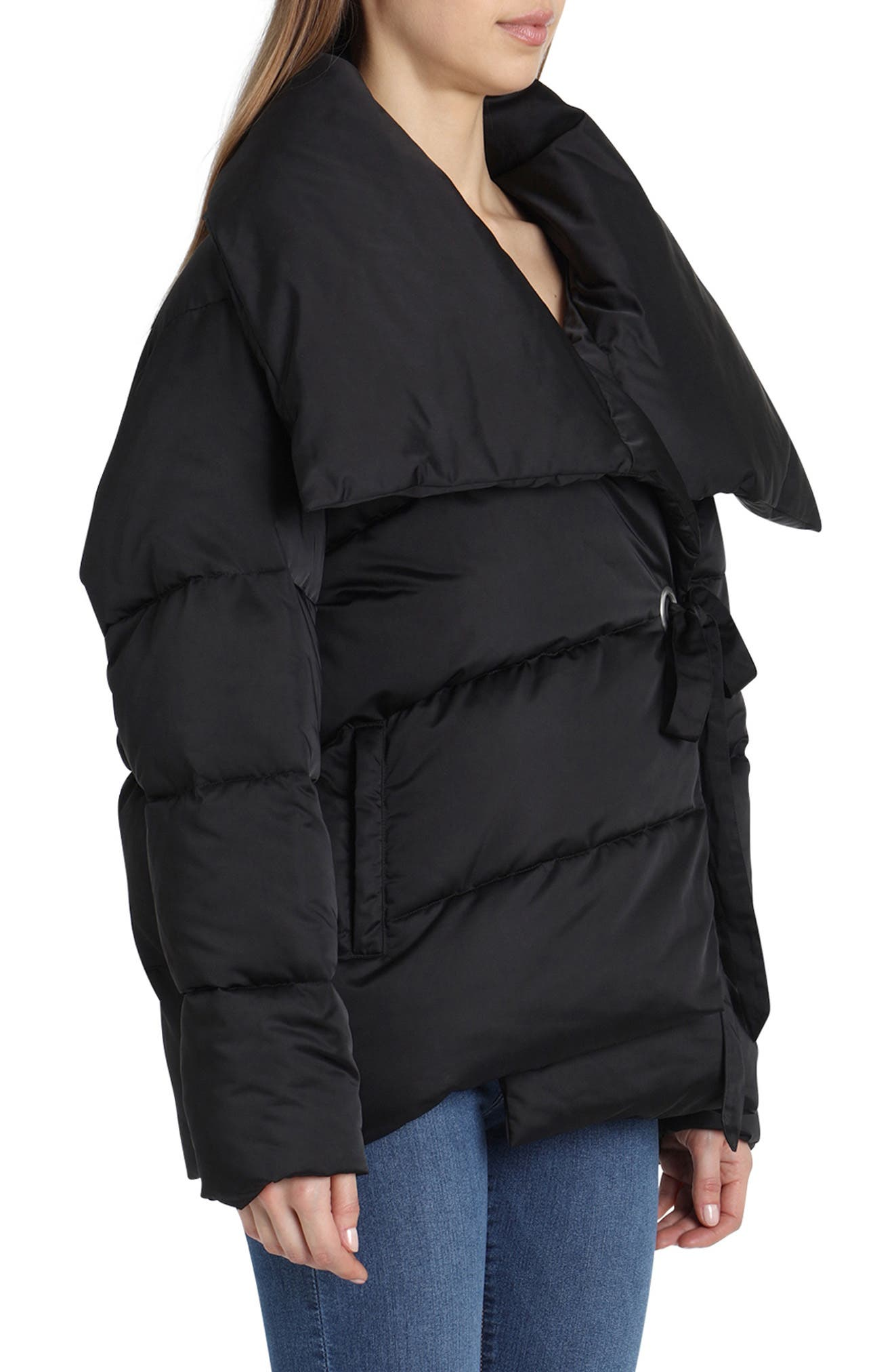 Wrap Puffer Jacket,                             Alternate thumbnail 3, color,                             BLACK