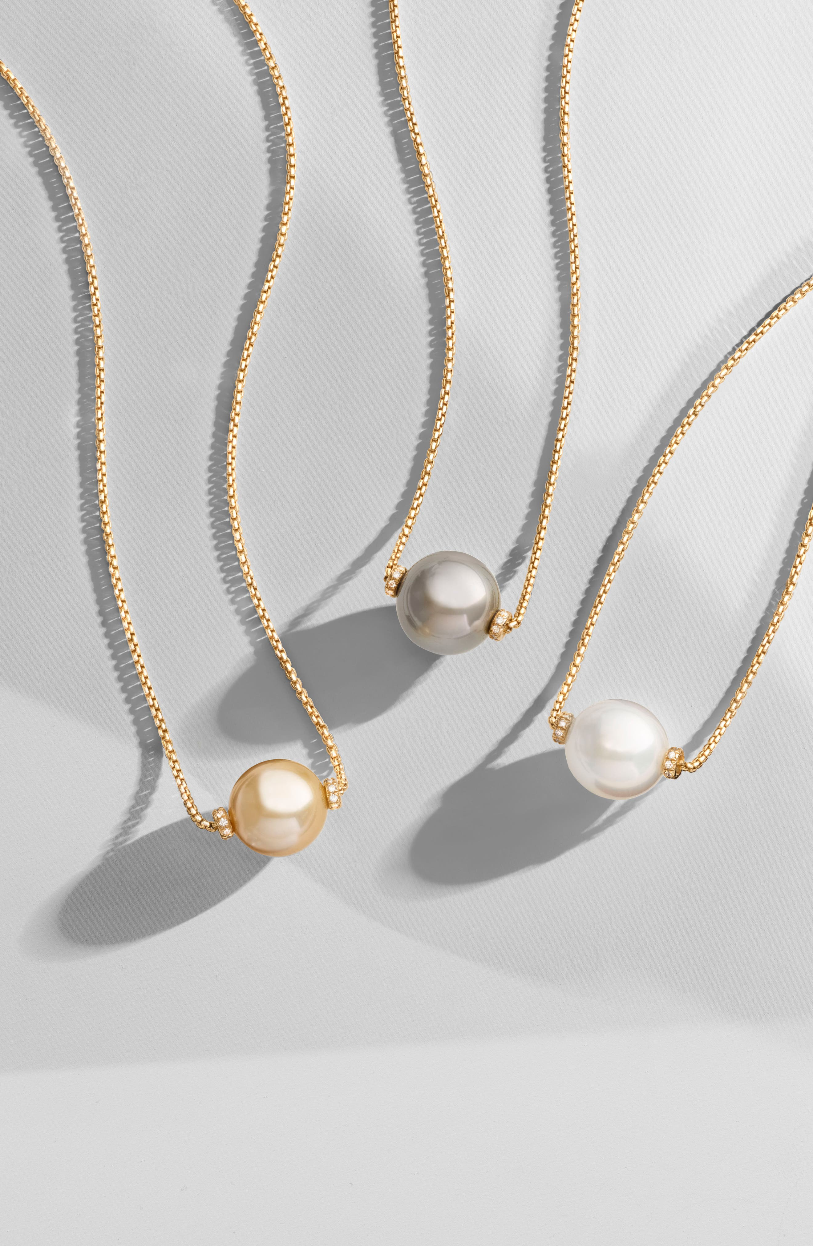 Solari Pearl Station Necklace,                             Alternate thumbnail 3, color,                             YELLOW GOLD/ SOUTH SEA WHITE