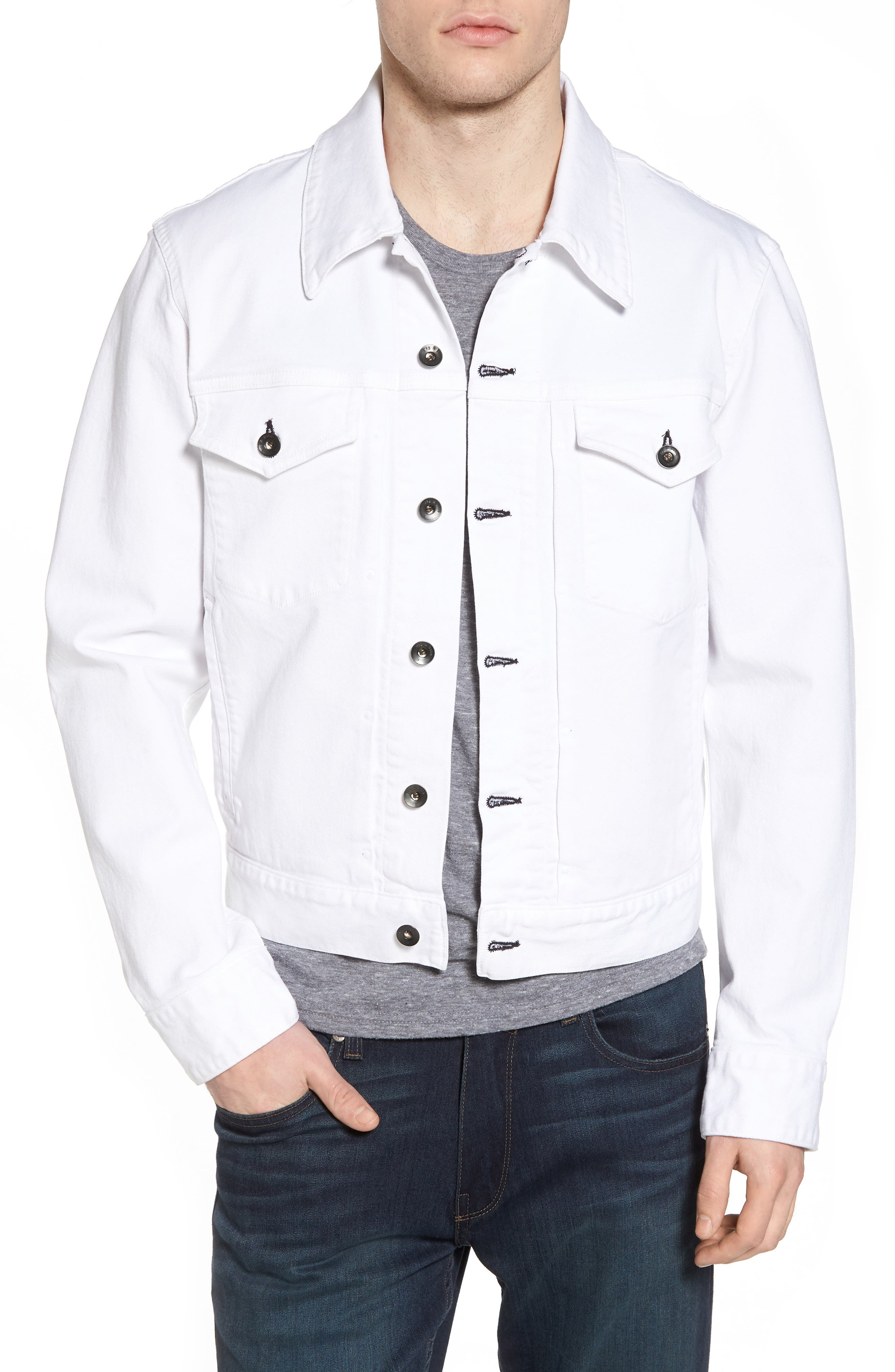 Denim Jacket,                         Main,                         color, WHITE