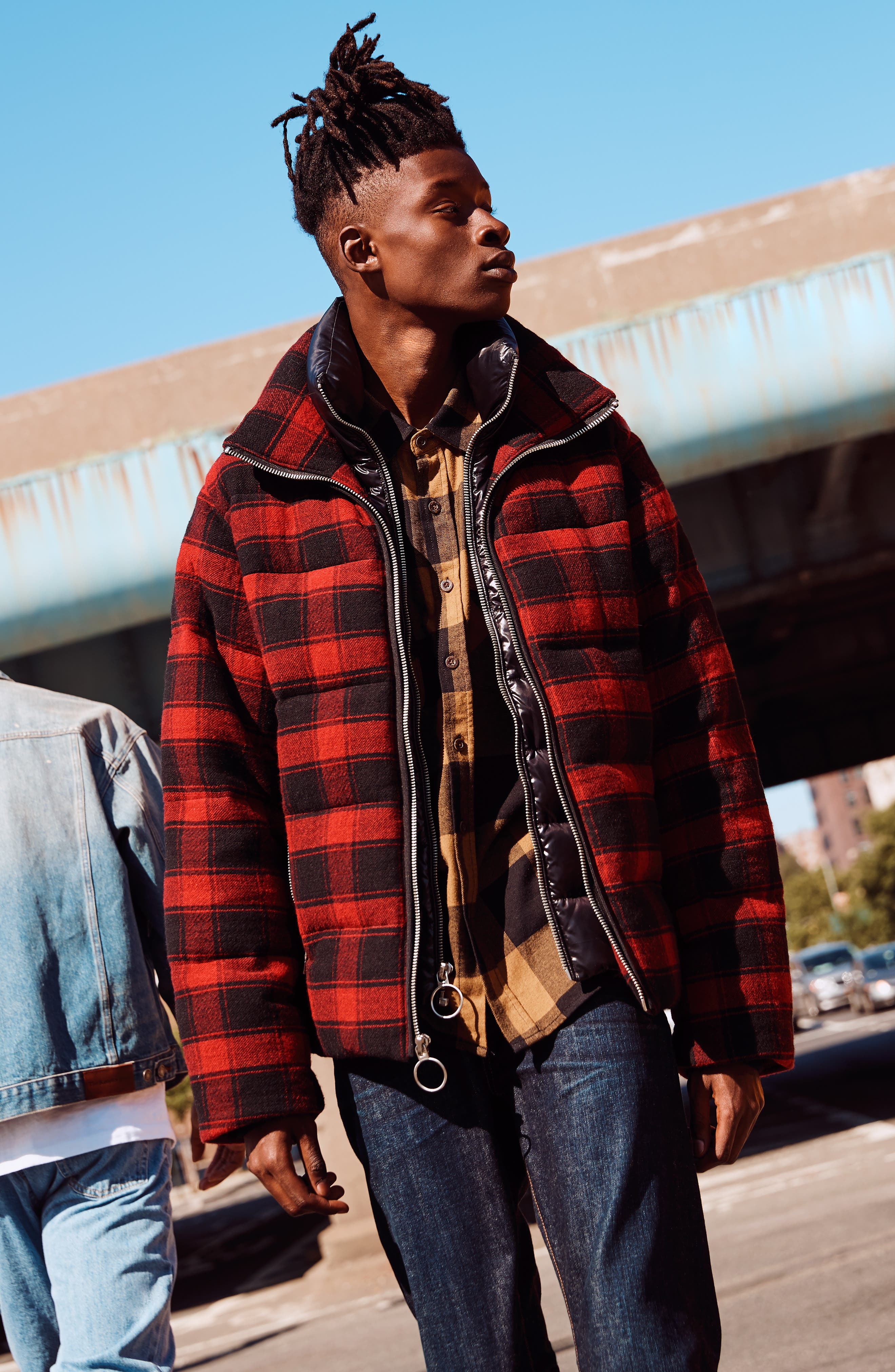 Crosby Plaid Wool Bib Puffer Jacket,                             Alternate thumbnail 8, color,                             CHARCOAL/ BLACK PLAID