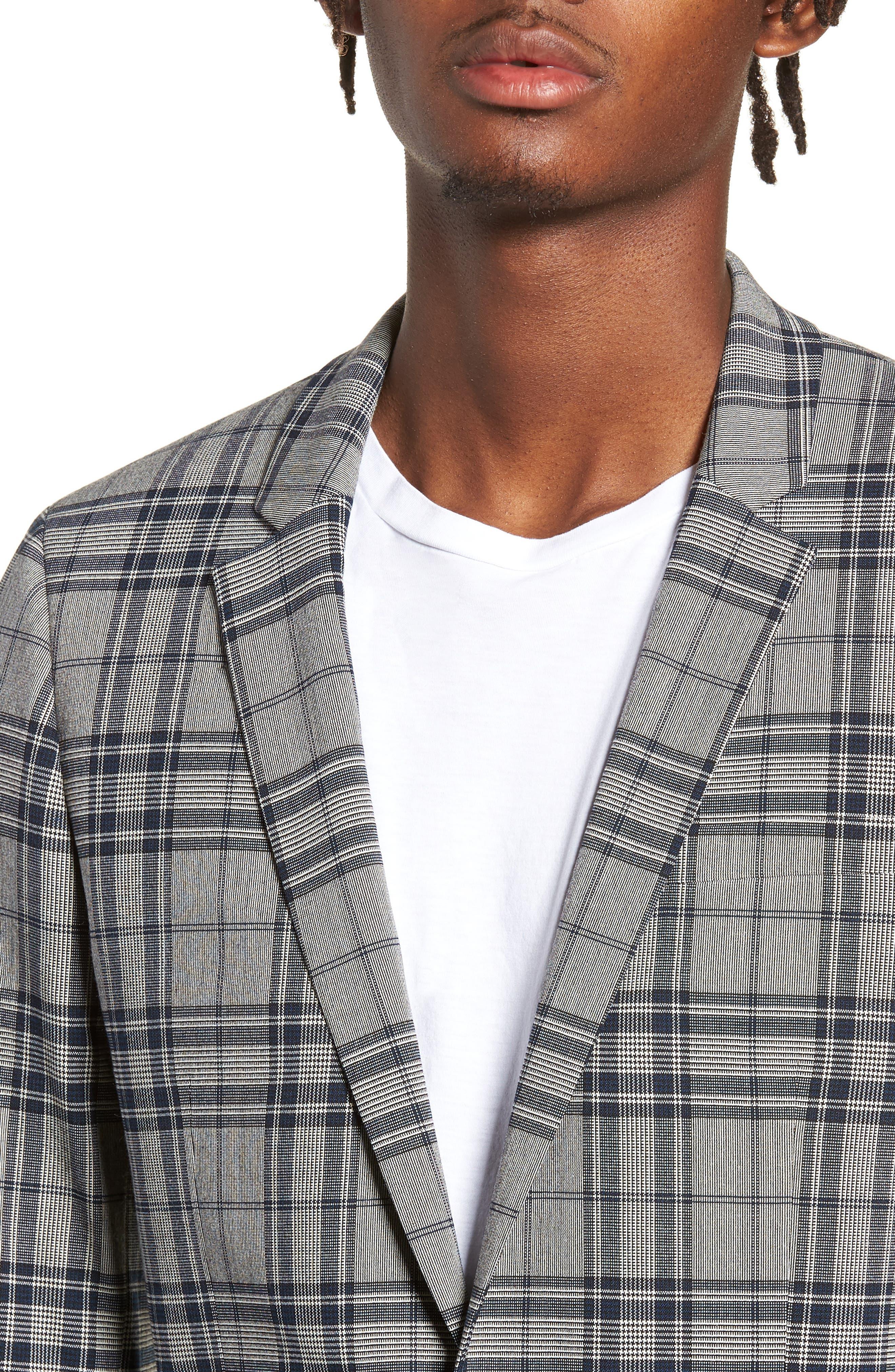 Skinny Fit Plaid Suit Jacket,                             Alternate thumbnail 4, color,                             GREY MULTI