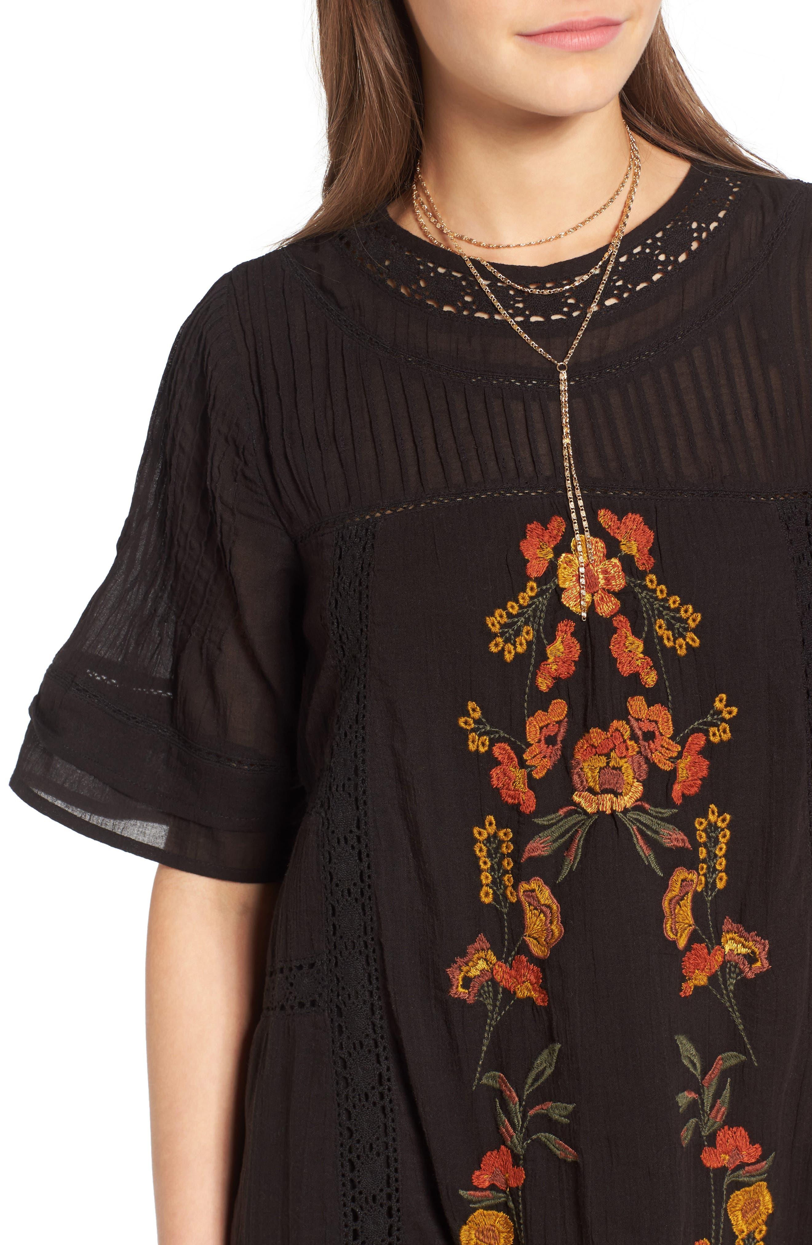 'Perfectly Victorian' Minidress,                             Alternate thumbnail 4, color,                             BLACK COMBO