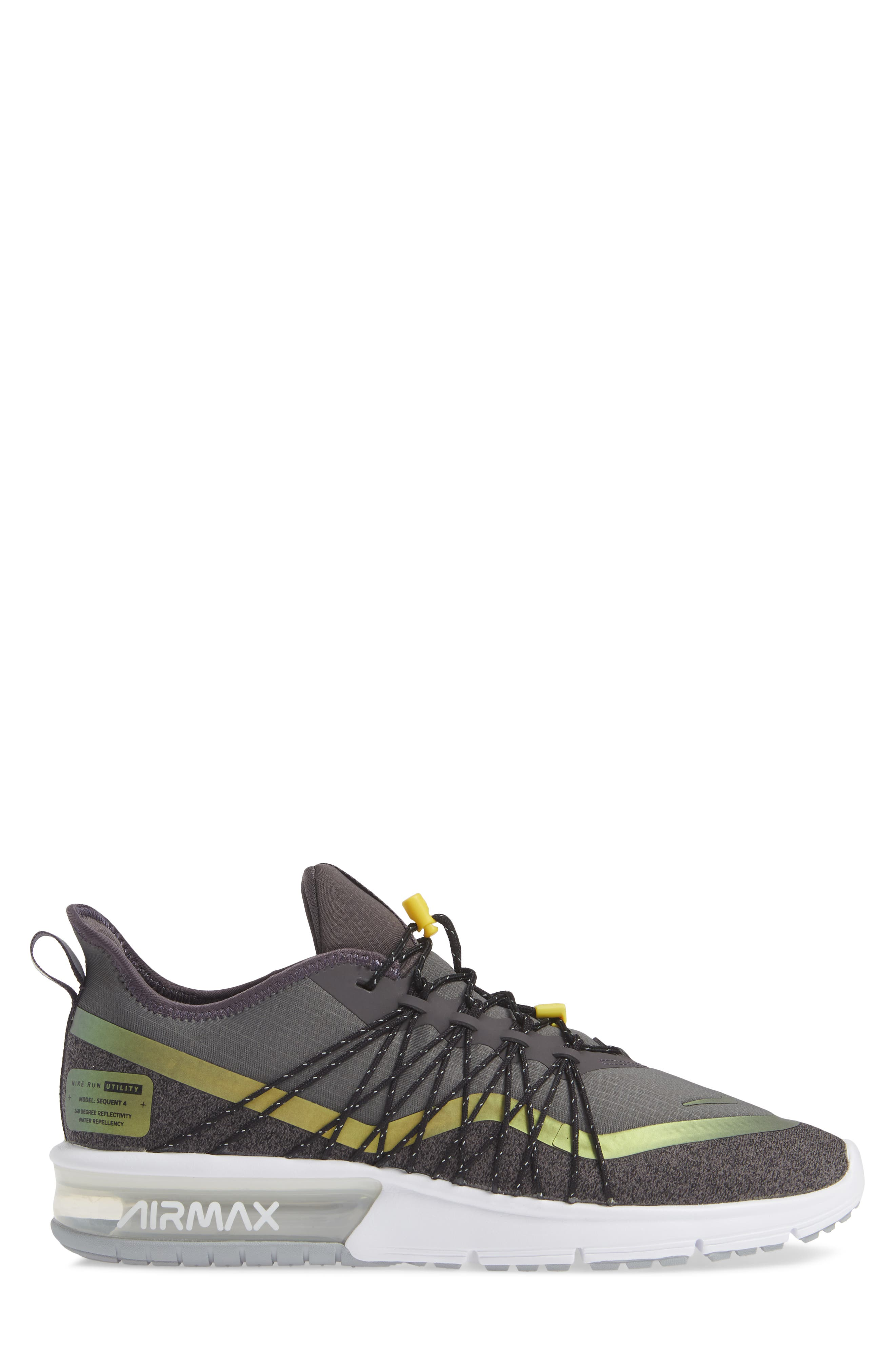 Air Max Sequent 4 Utility Running Shoe,                             Alternate thumbnail 3, color,                             THUNDER GREY/ VOLT