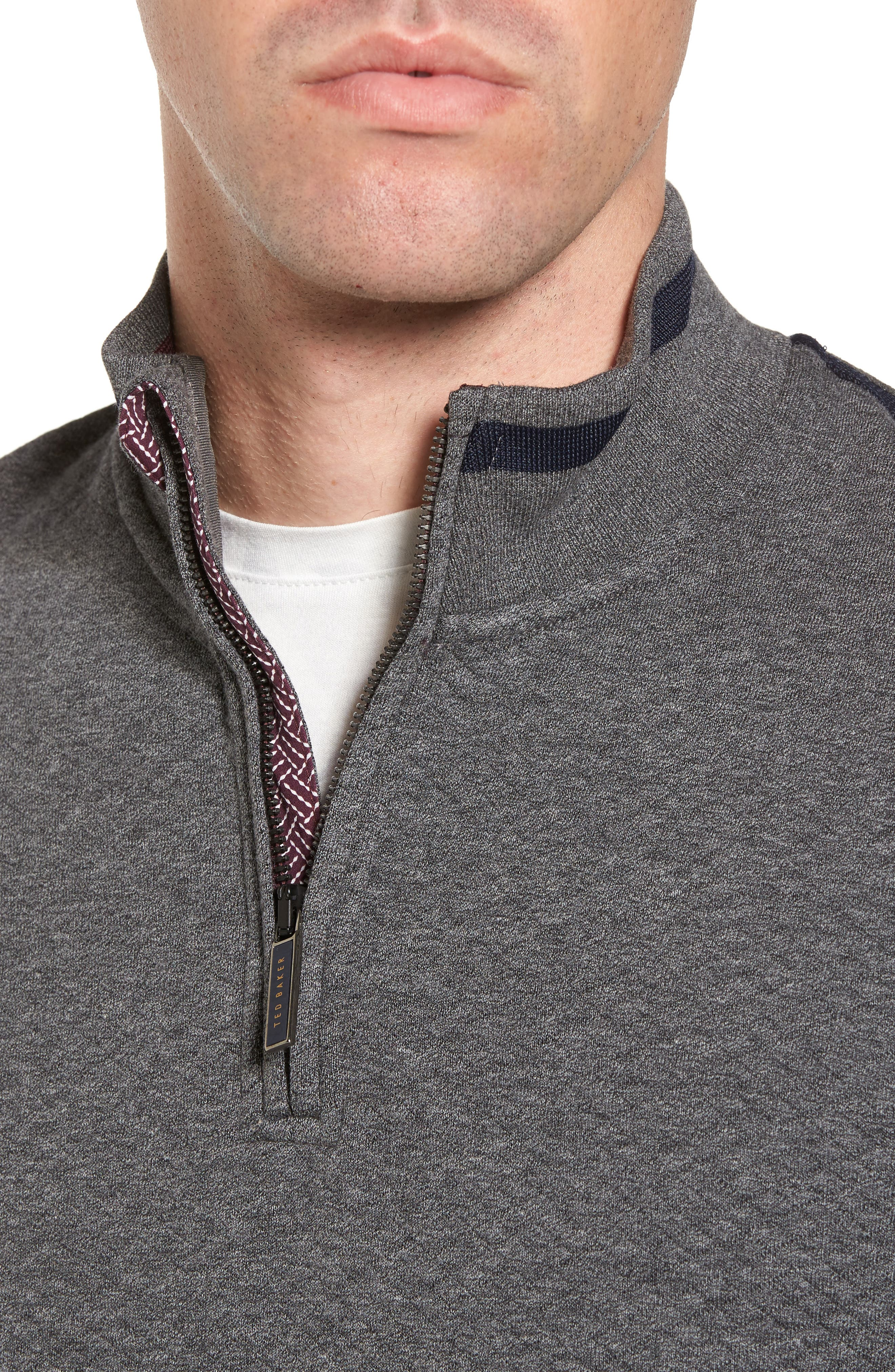 Sidney Quilted Quarter Zip Sweatshirt,                             Alternate thumbnail 4, color,                             010