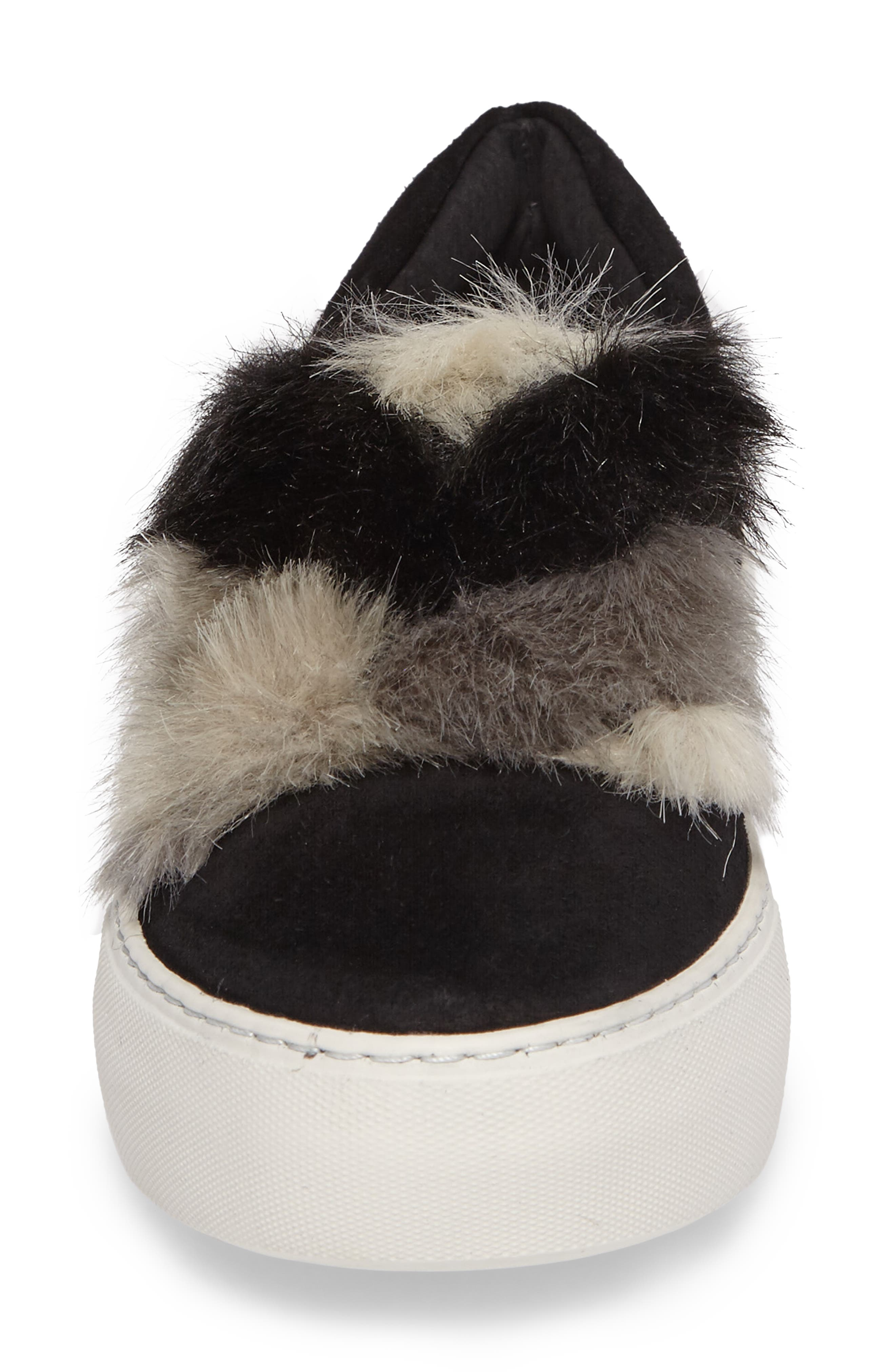 Alexi Faux Fur Slip-On Sneaker,                             Alternate thumbnail 4, color,                             002