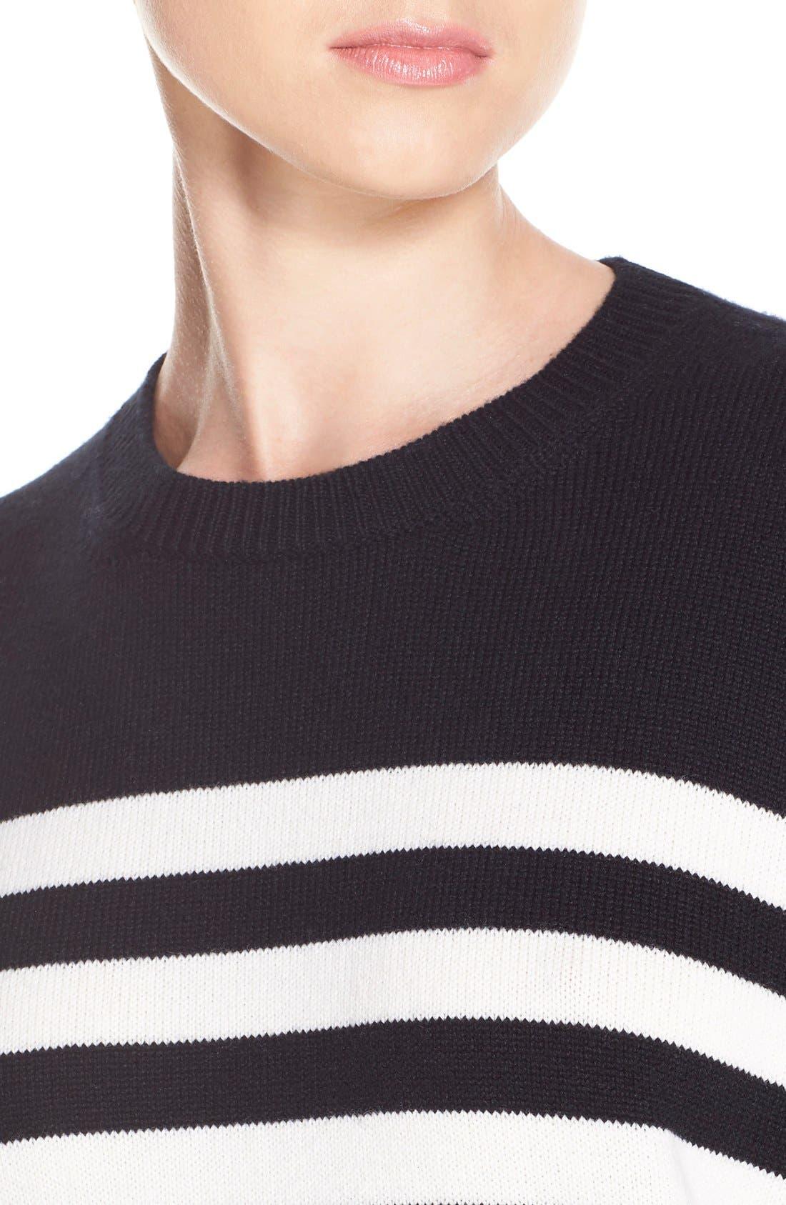 Stripe Cashmere Sweater,                             Alternate thumbnail 5, color,                             BLACK CREME