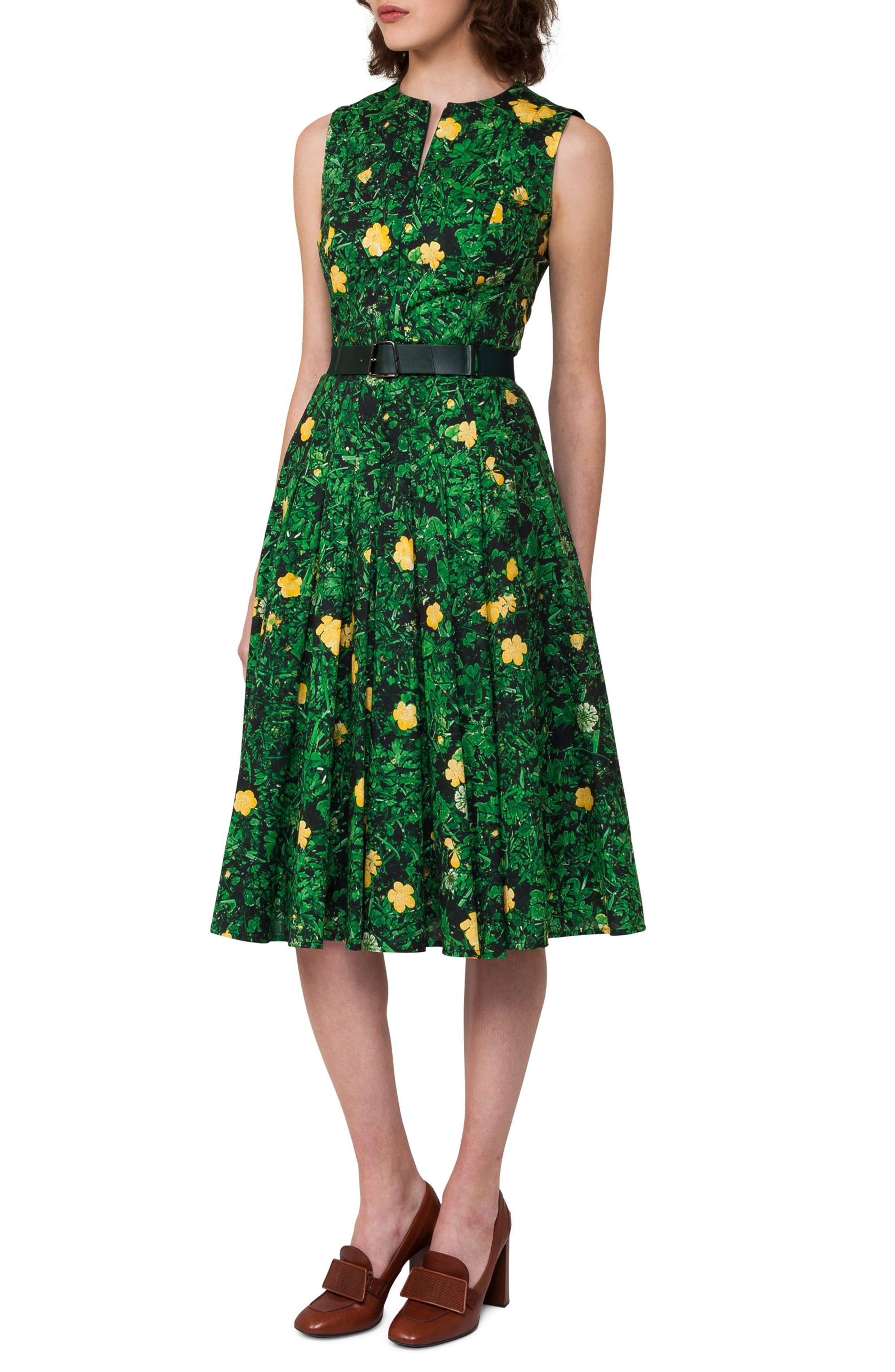 Floral Print Pleated Cotton Dress,                             Alternate thumbnail 3, color,                             300