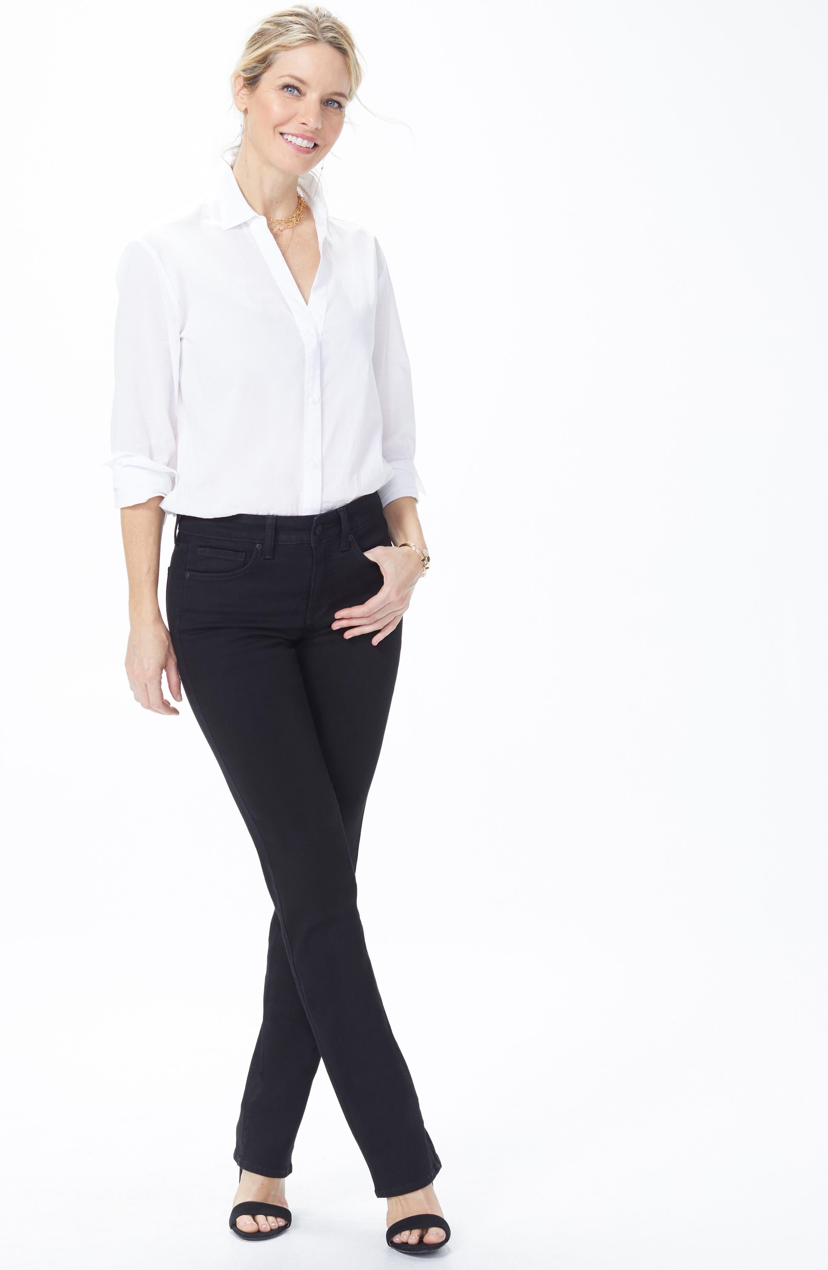 Marilyn High Waist Straight Jeans,                             Alternate thumbnail 7, color,                             BLACK