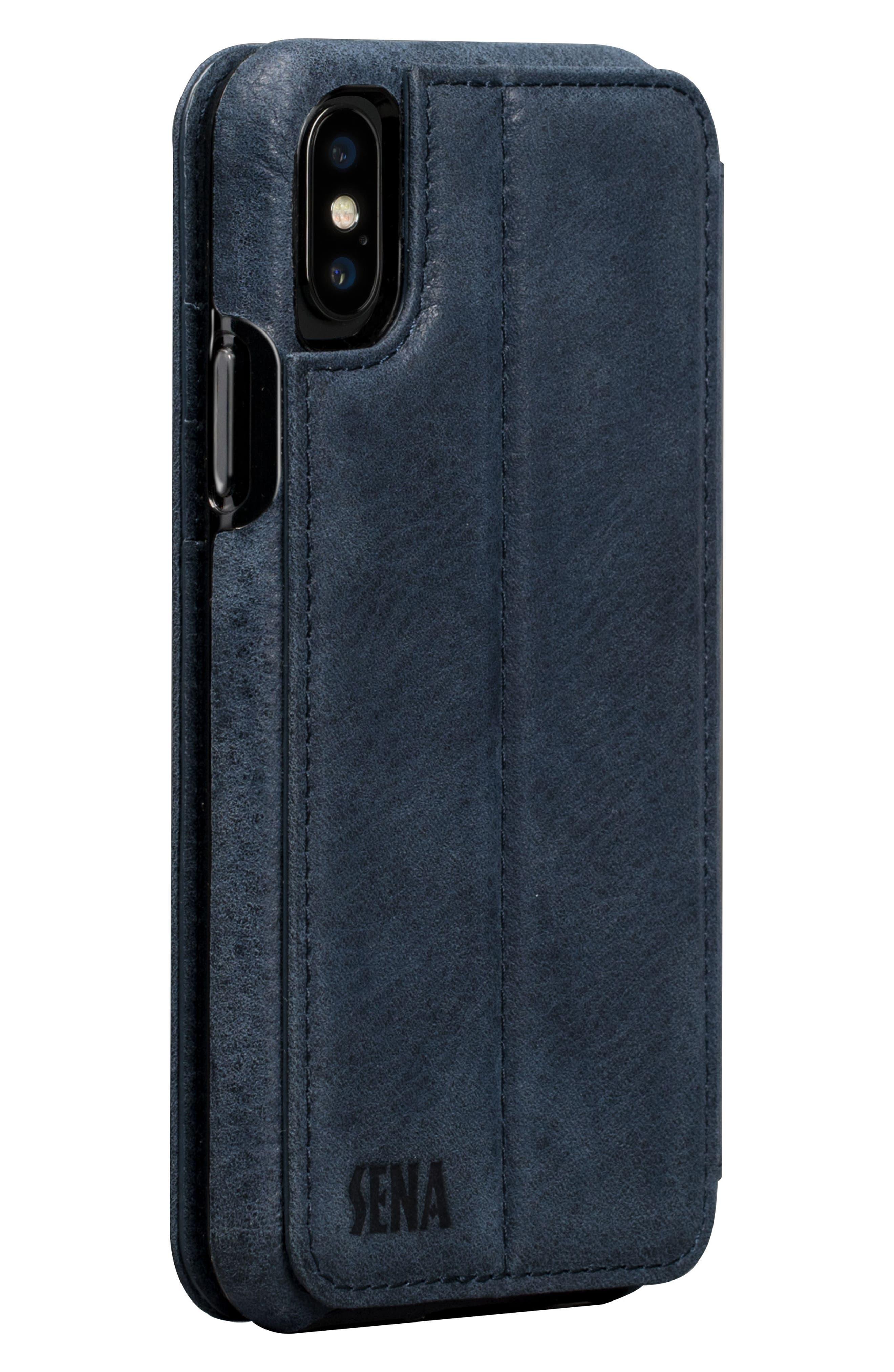Bence iPhone X & Xs Walletbook,                             Alternate thumbnail 3, color,                             DENIM
