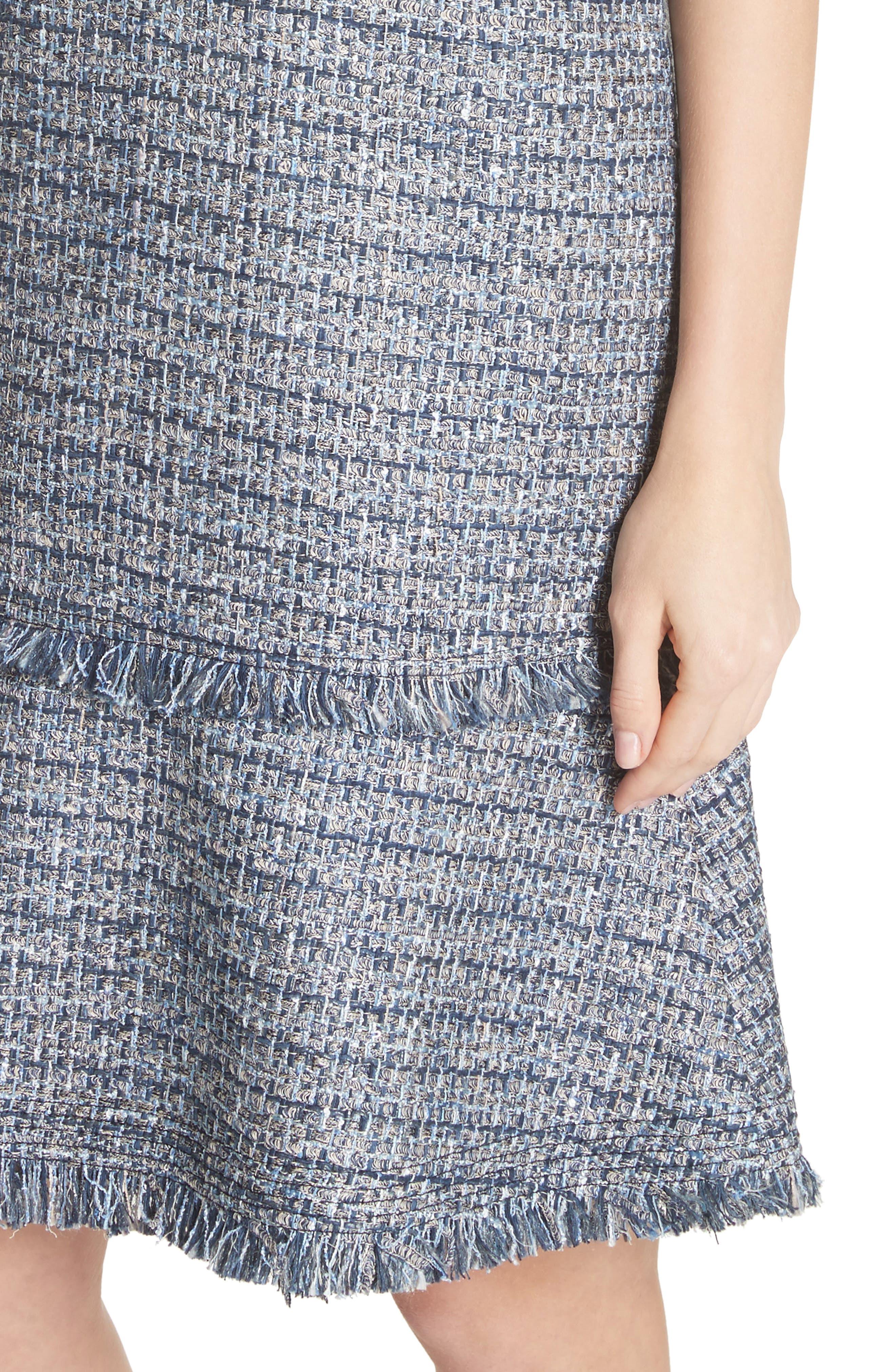 Saria Tweed Drop Waist Dress,                             Alternate thumbnail 4, color,