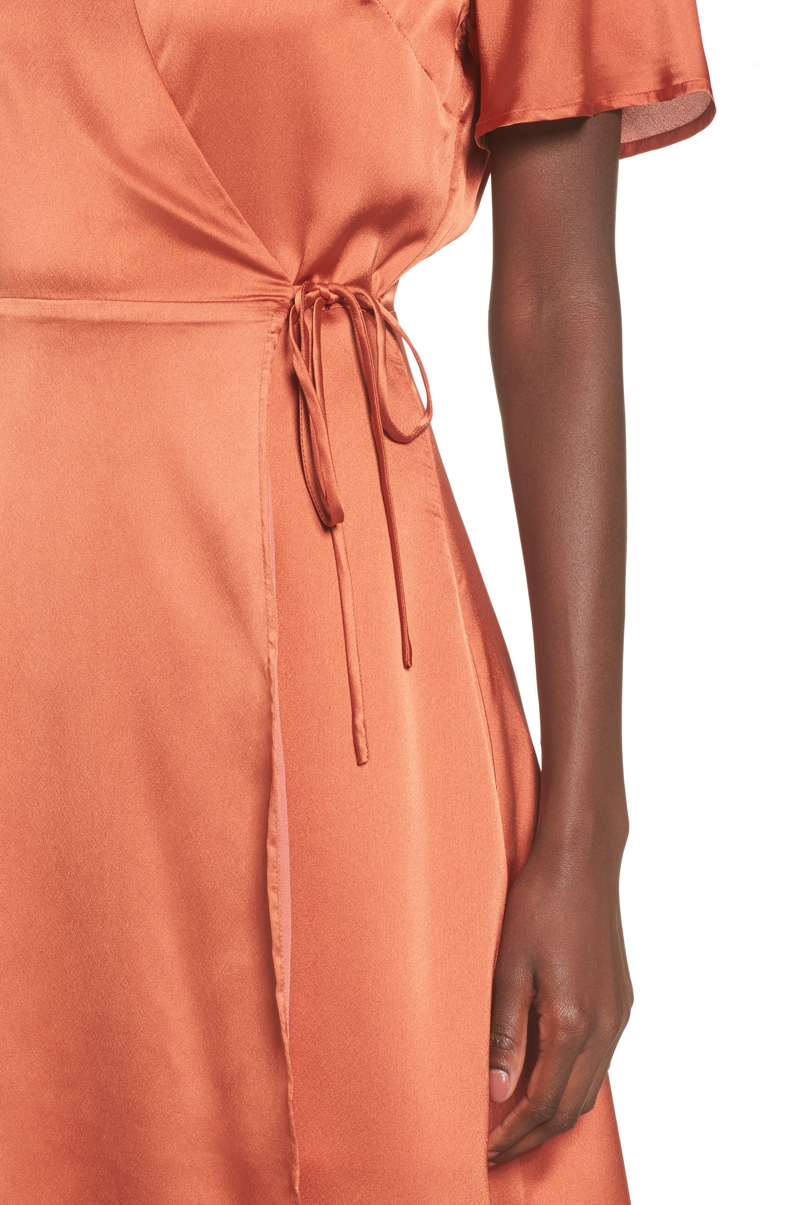 Satin Wrap Dress,                             Alternate thumbnail 4, color,                             201