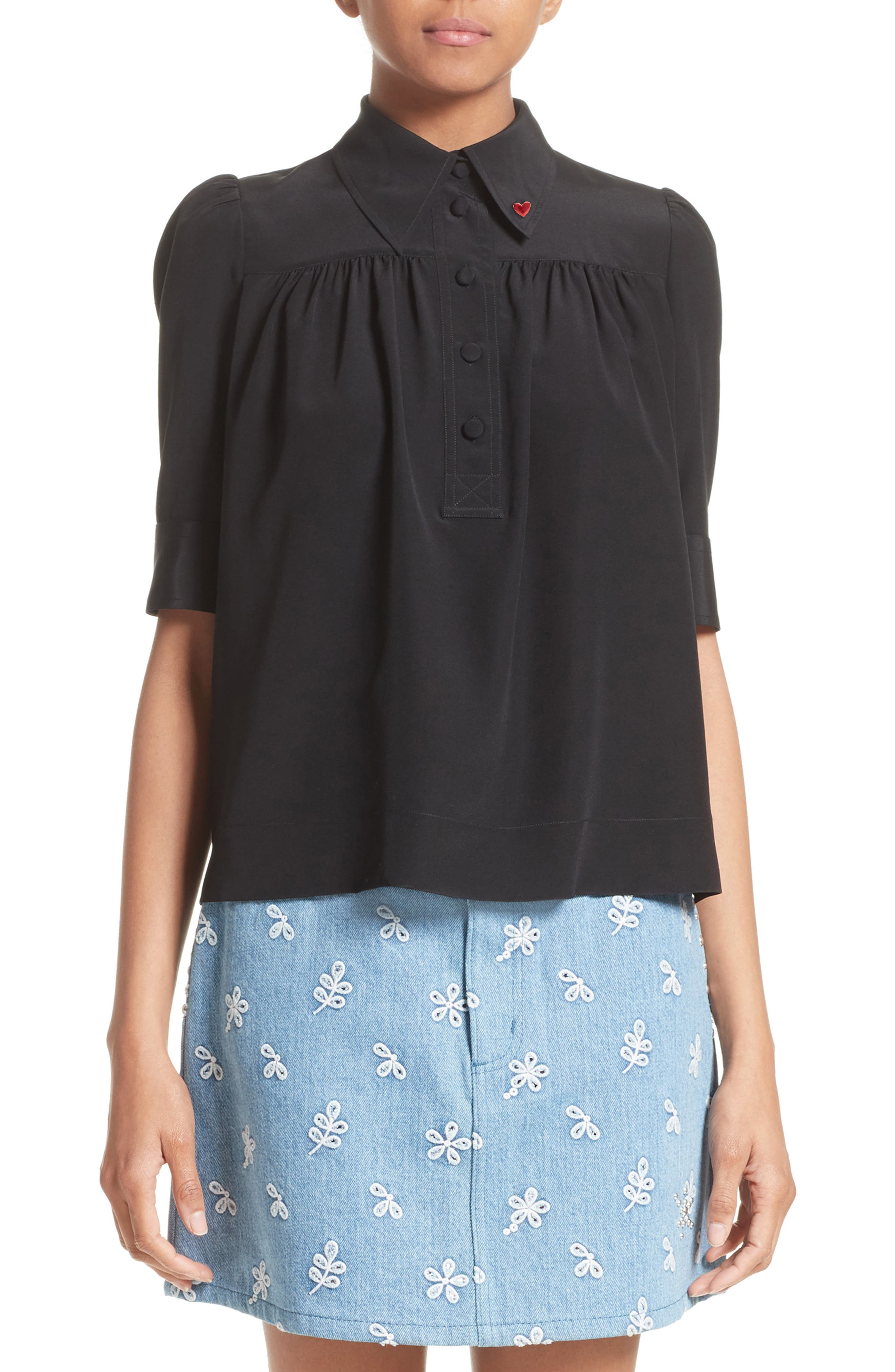 Silk Short Sleeve Blouse,                             Main thumbnail 1, color,                             001