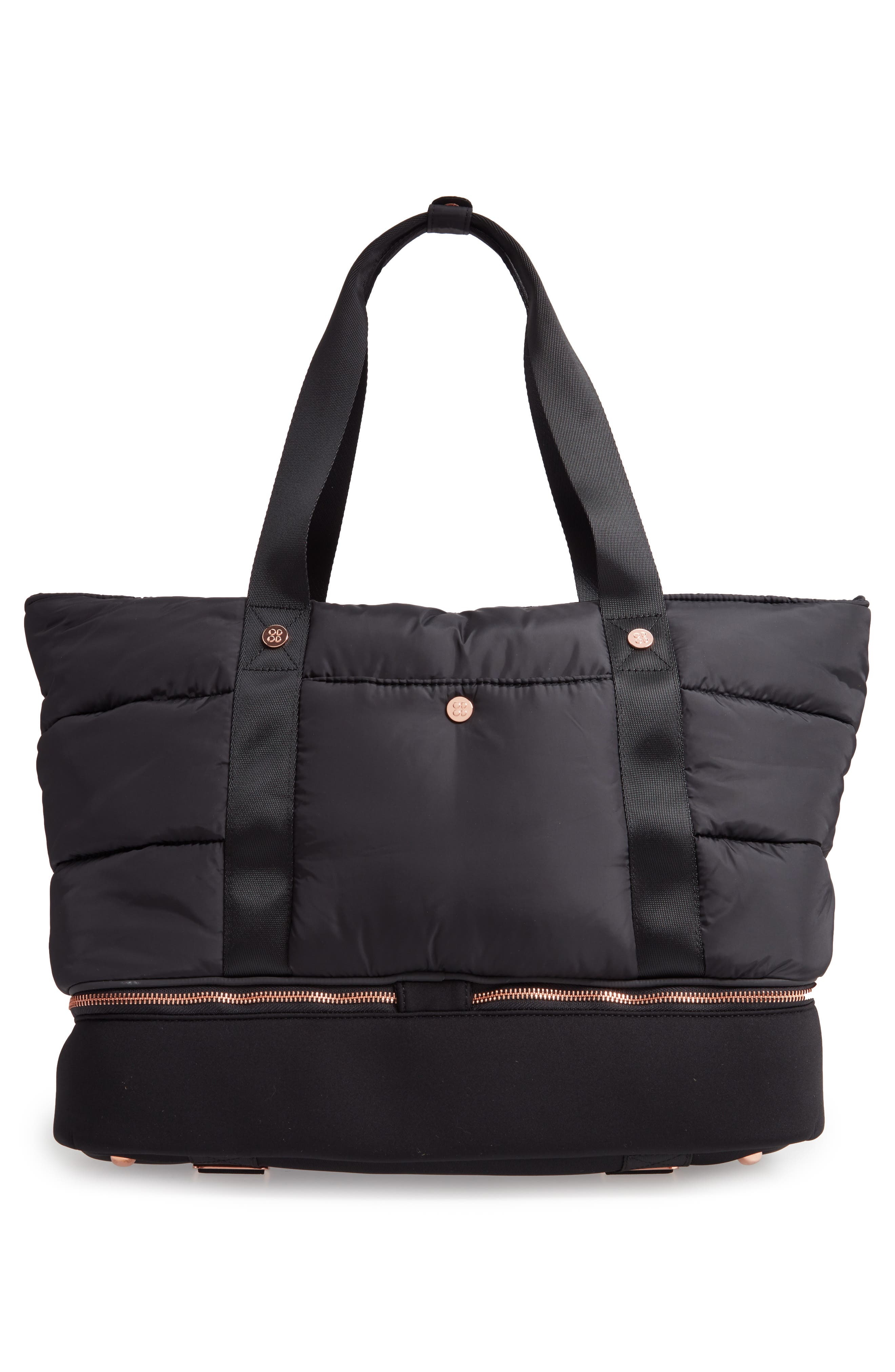 Luxe Gym Bag,                             Alternate thumbnail 3, color,                             001