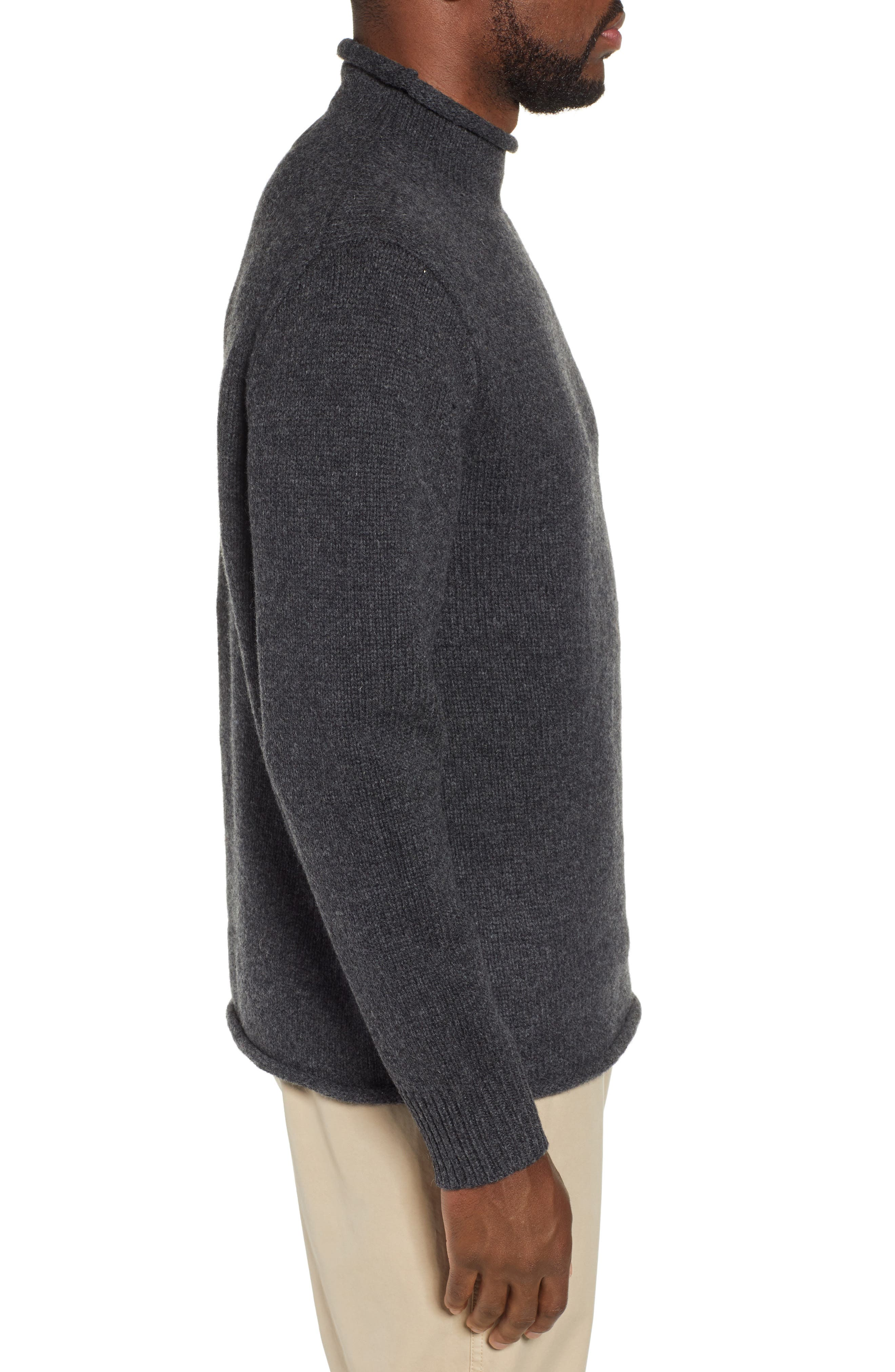 J.CREW,                             Relaxed Rollneck<sup>™</sup> Lambswool Sweater,                             Alternate thumbnail 3, color,                             020