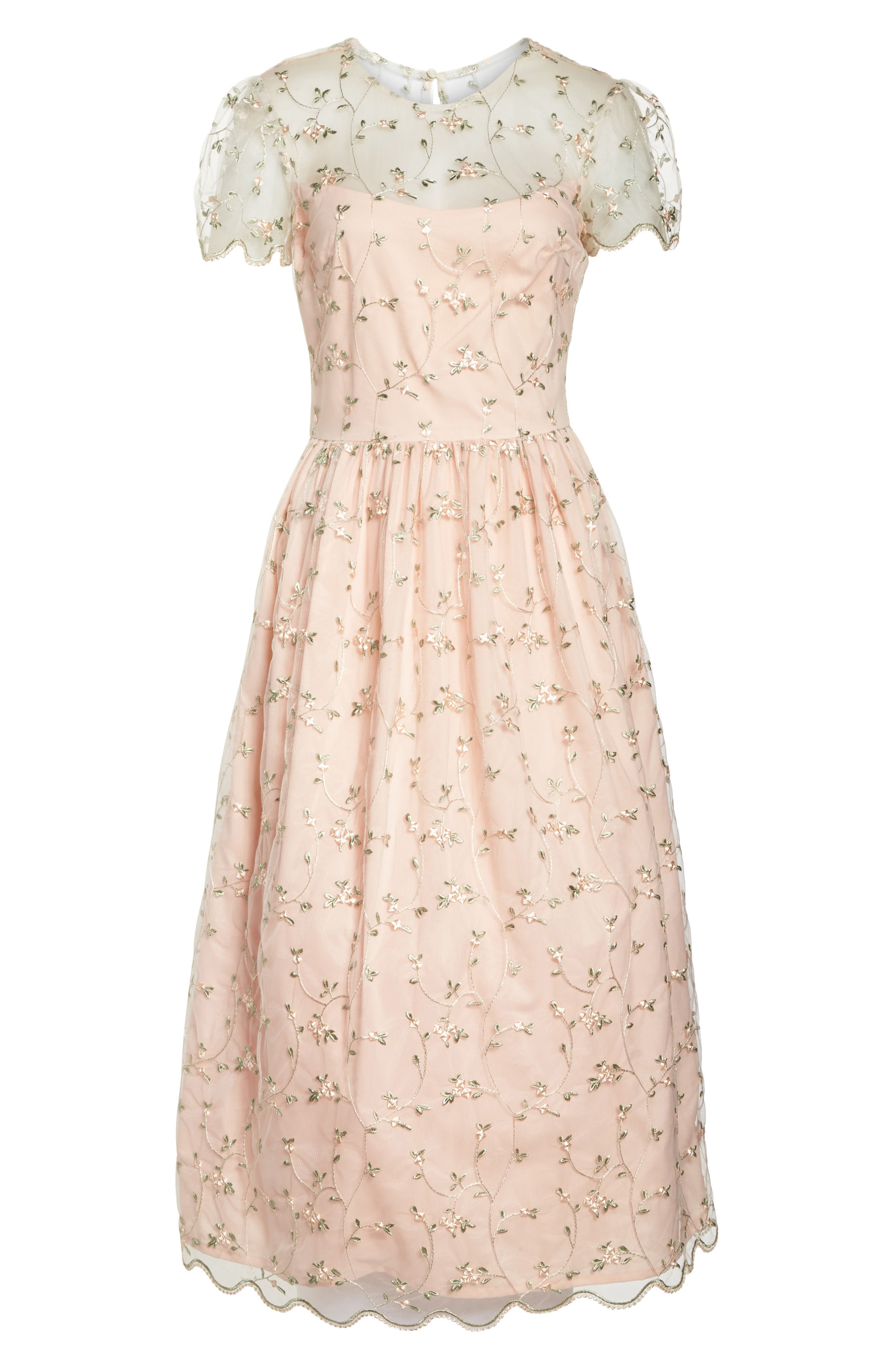 Penelope Baby Bud Embroidered Fit & Flare Midi Dress,                             Alternate thumbnail 8, color,                             650