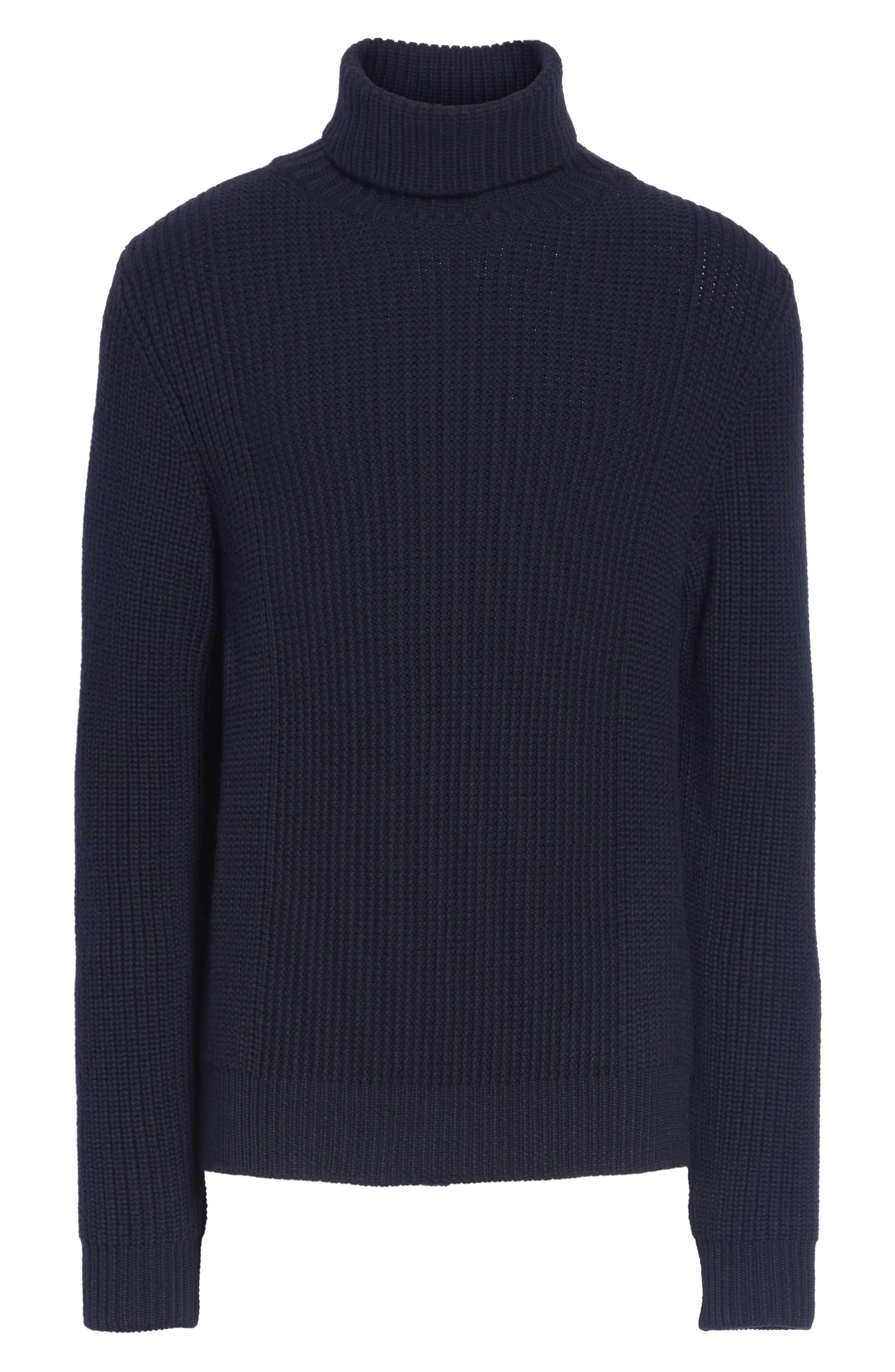 Ribbed Merino Wool Turtleneck Sweater,                             Alternate thumbnail 6, color,                             NAVY