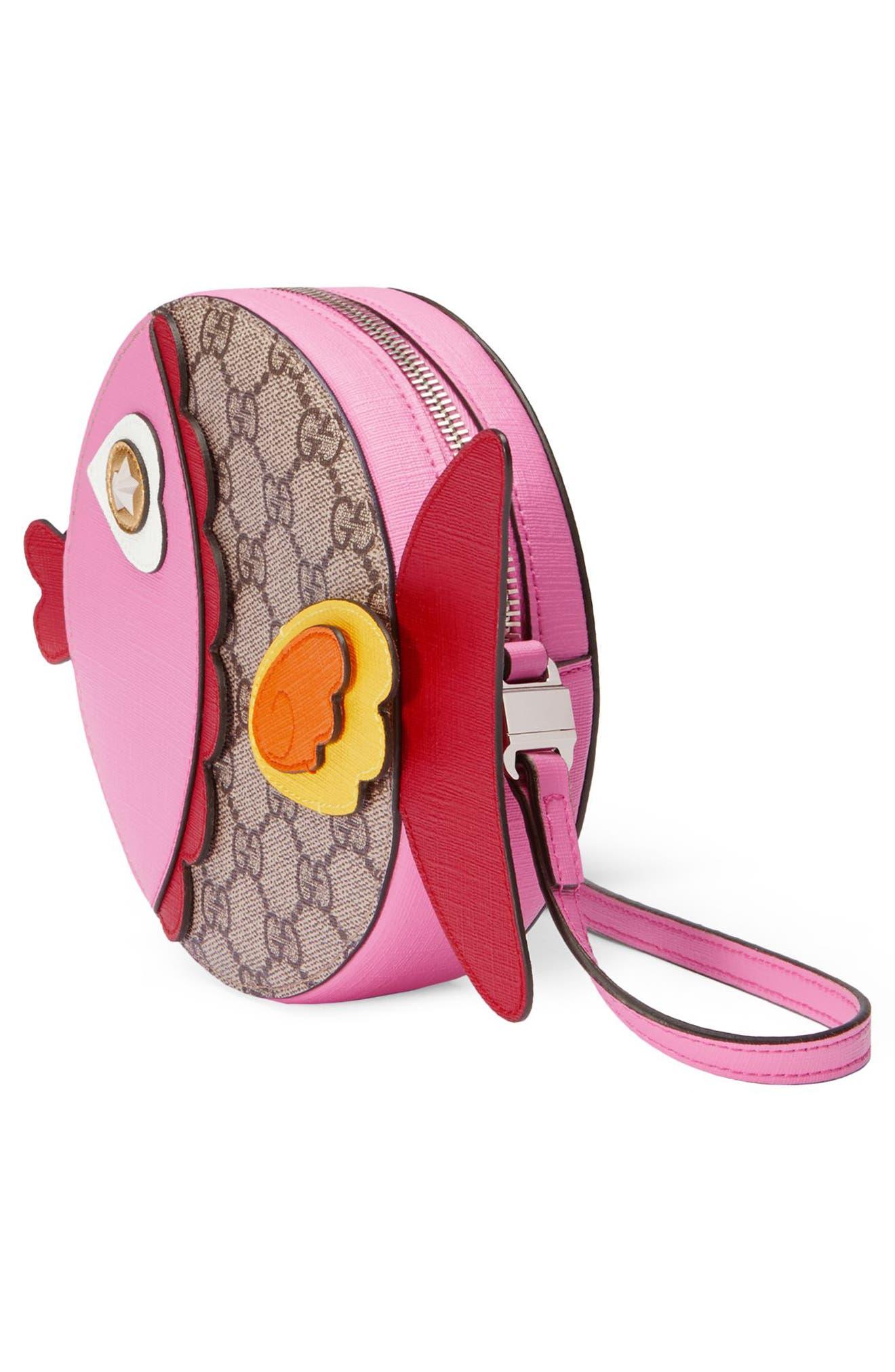 Gucci GG Supreme Fish Canvas Shoulder Bag,                             Alternate thumbnail 4, color,                             204