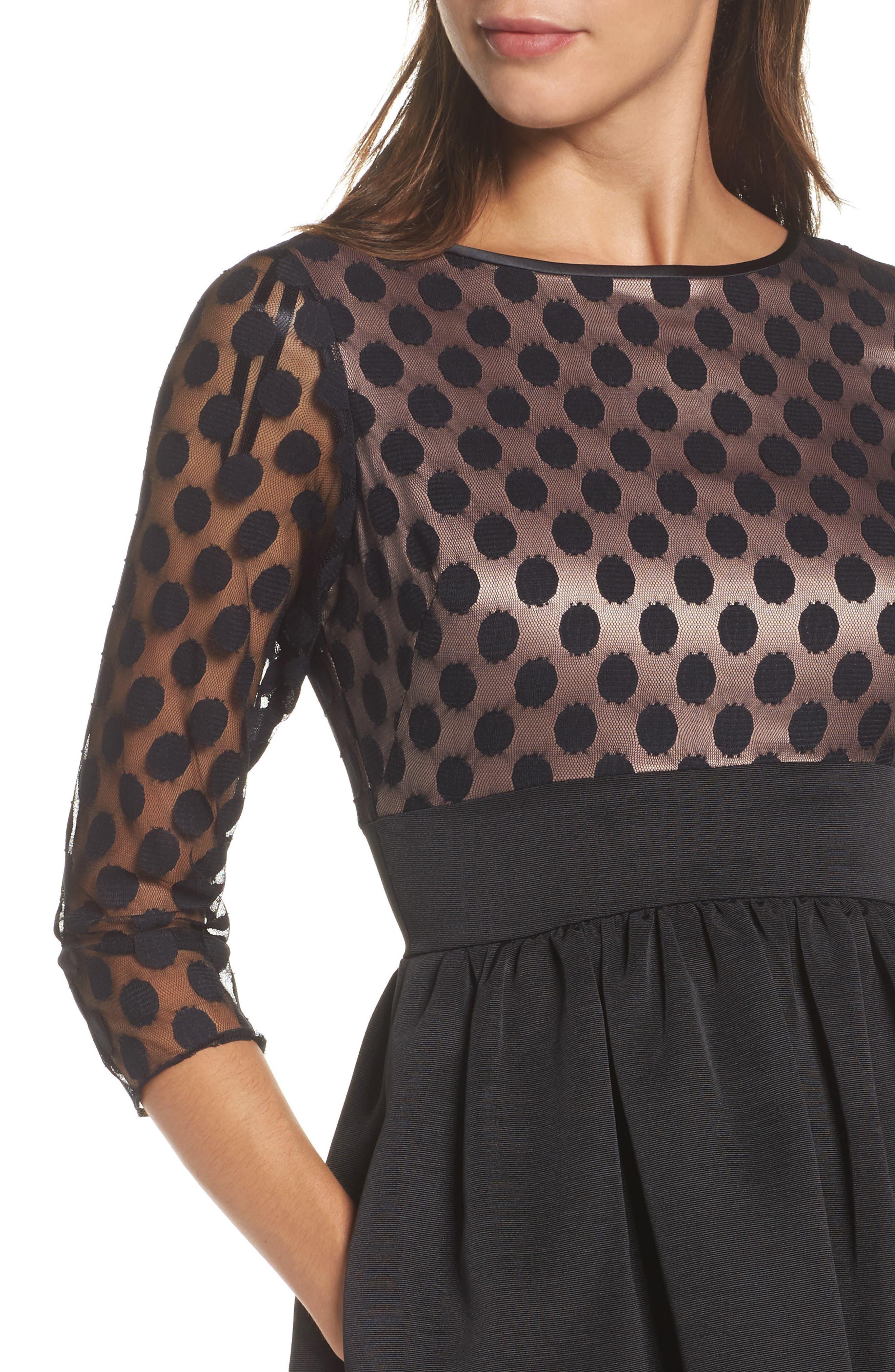 Dot Mesh Bodice Fit & Flare Dress,                             Alternate thumbnail 10, color,
