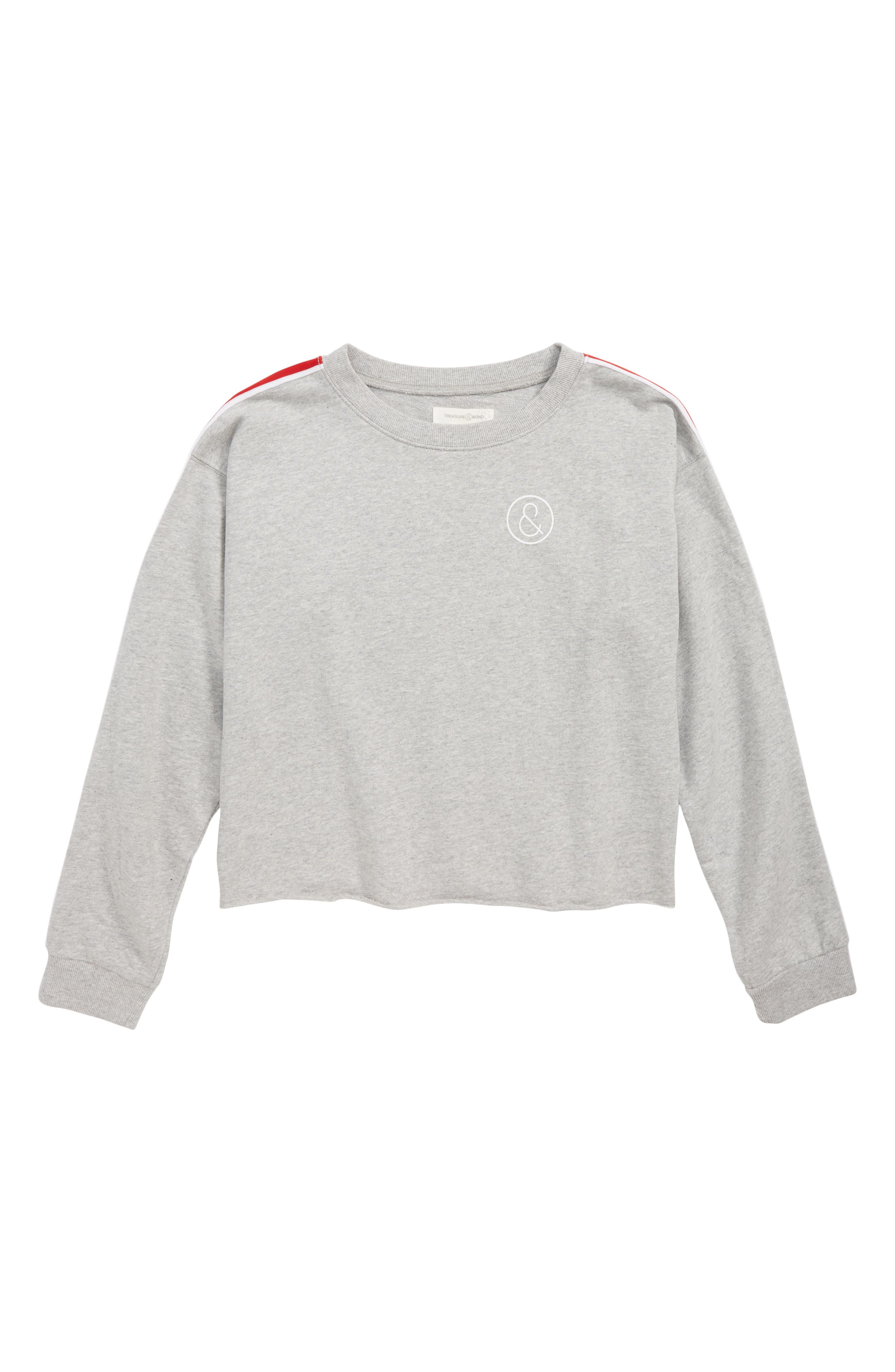 Varsity Fleece Sweatshirt,                         Main,                         color, GREY ASH HEATHER