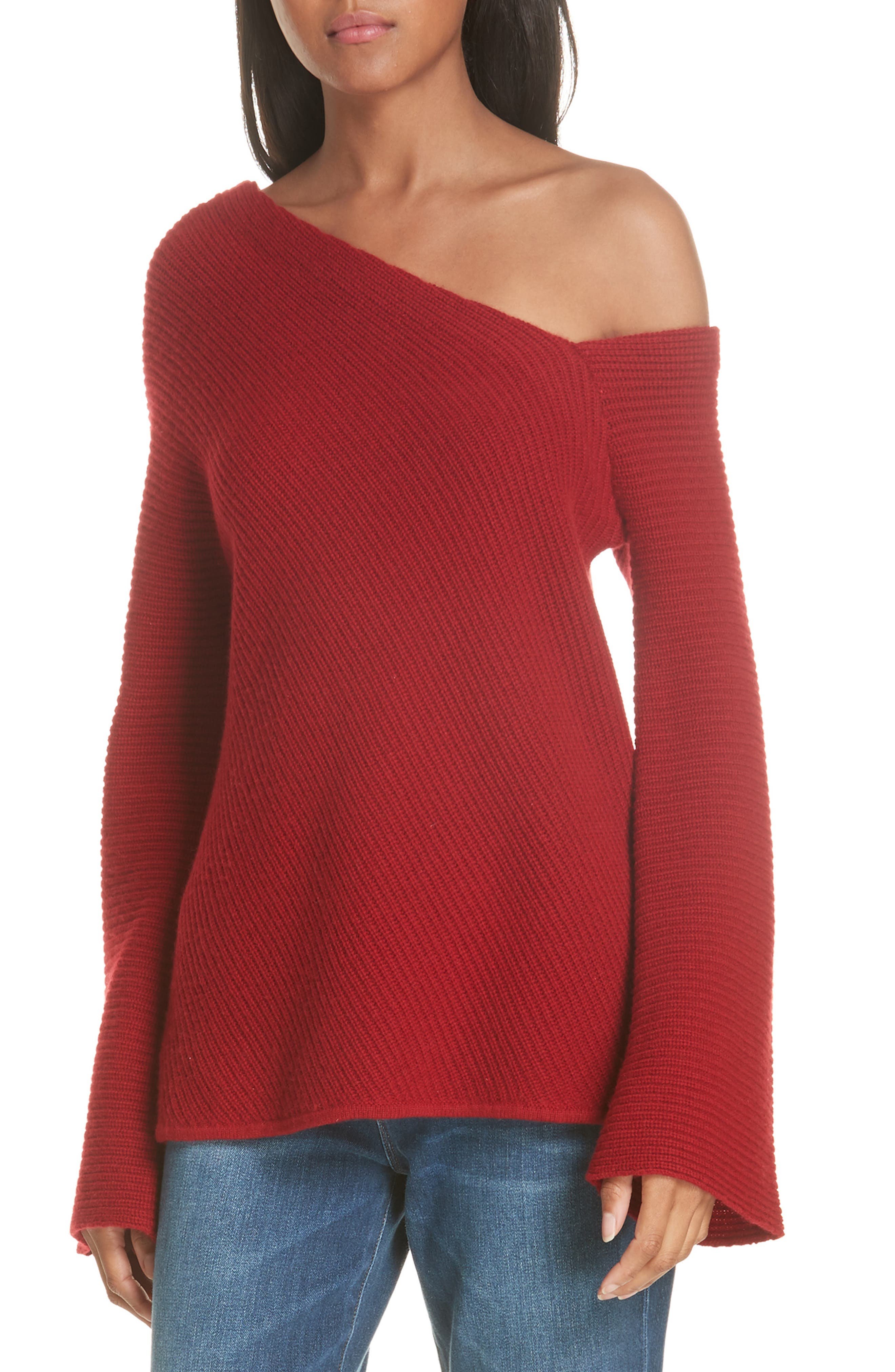 Charly Wool & Cashmere One-Shoulder Sweater,                             Main thumbnail 1, color,                             RED