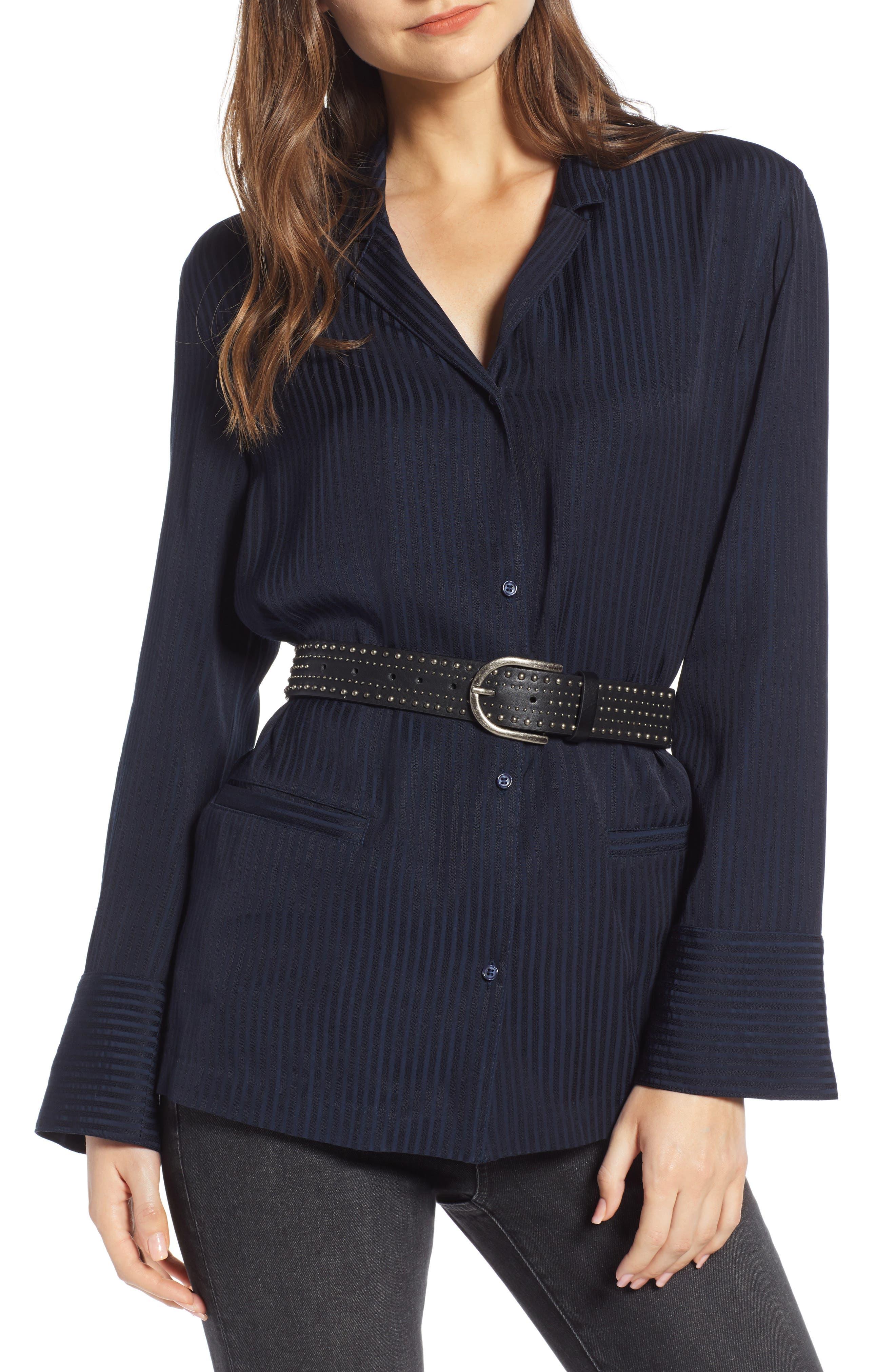 Treasure & Bond Tonal Stripe Pajama Shirt, Blue