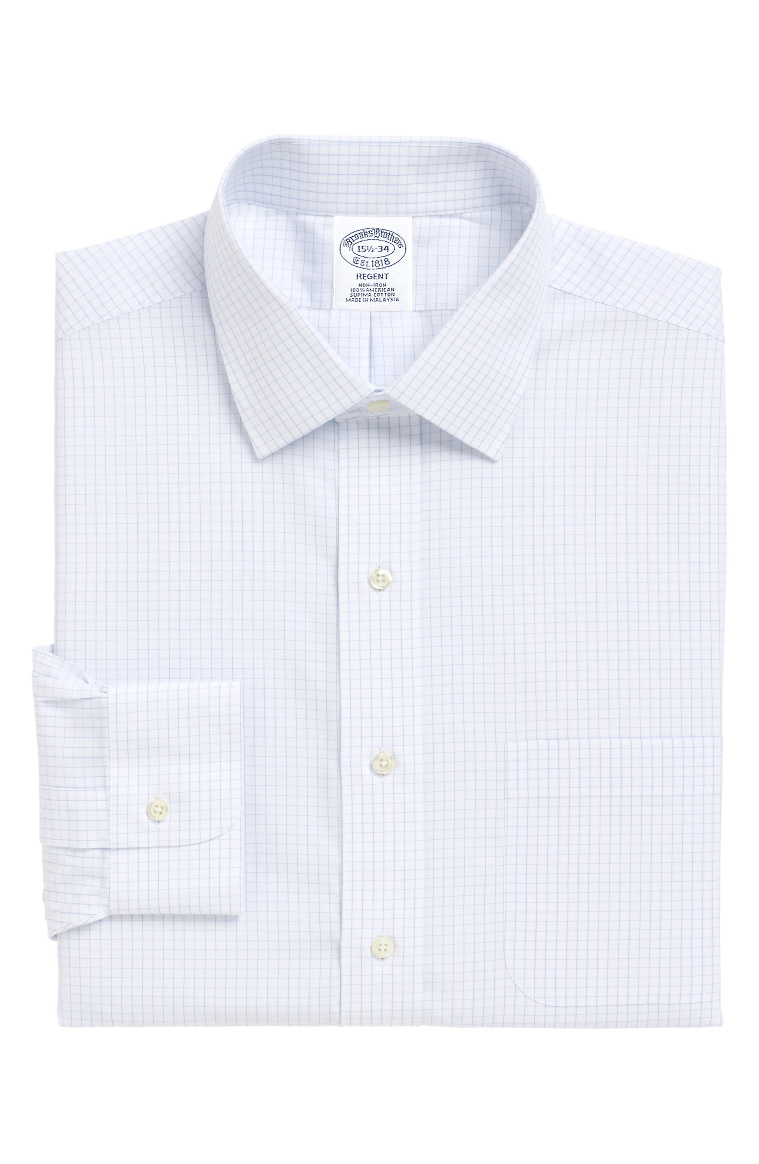 Regular Fit Check Dress Shirt,                             Main thumbnail 1, color,                             LIGHT/ PASTEL BLUE