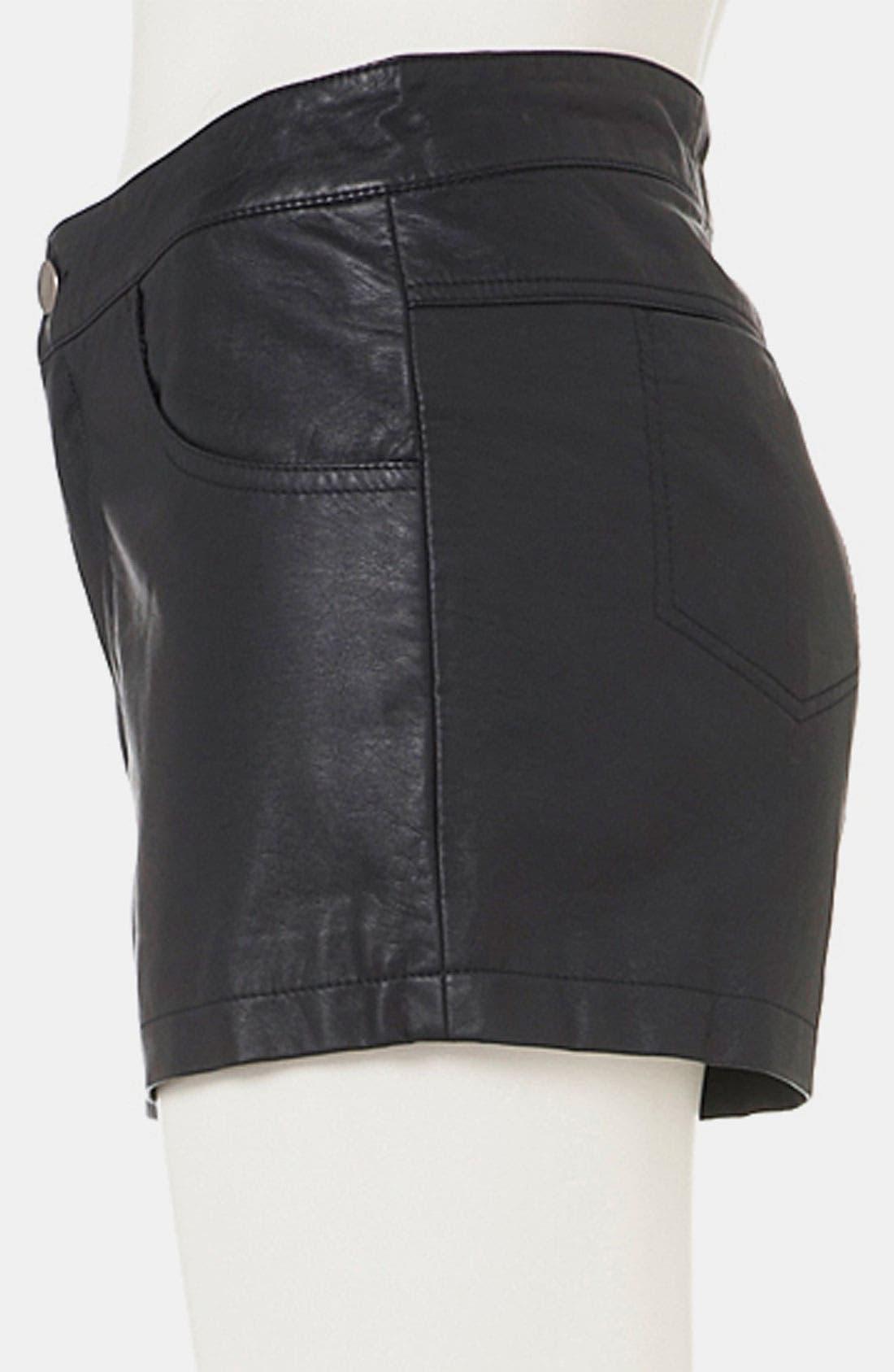 Faux Leather Shorts,                             Alternate thumbnail 3, color,                             001