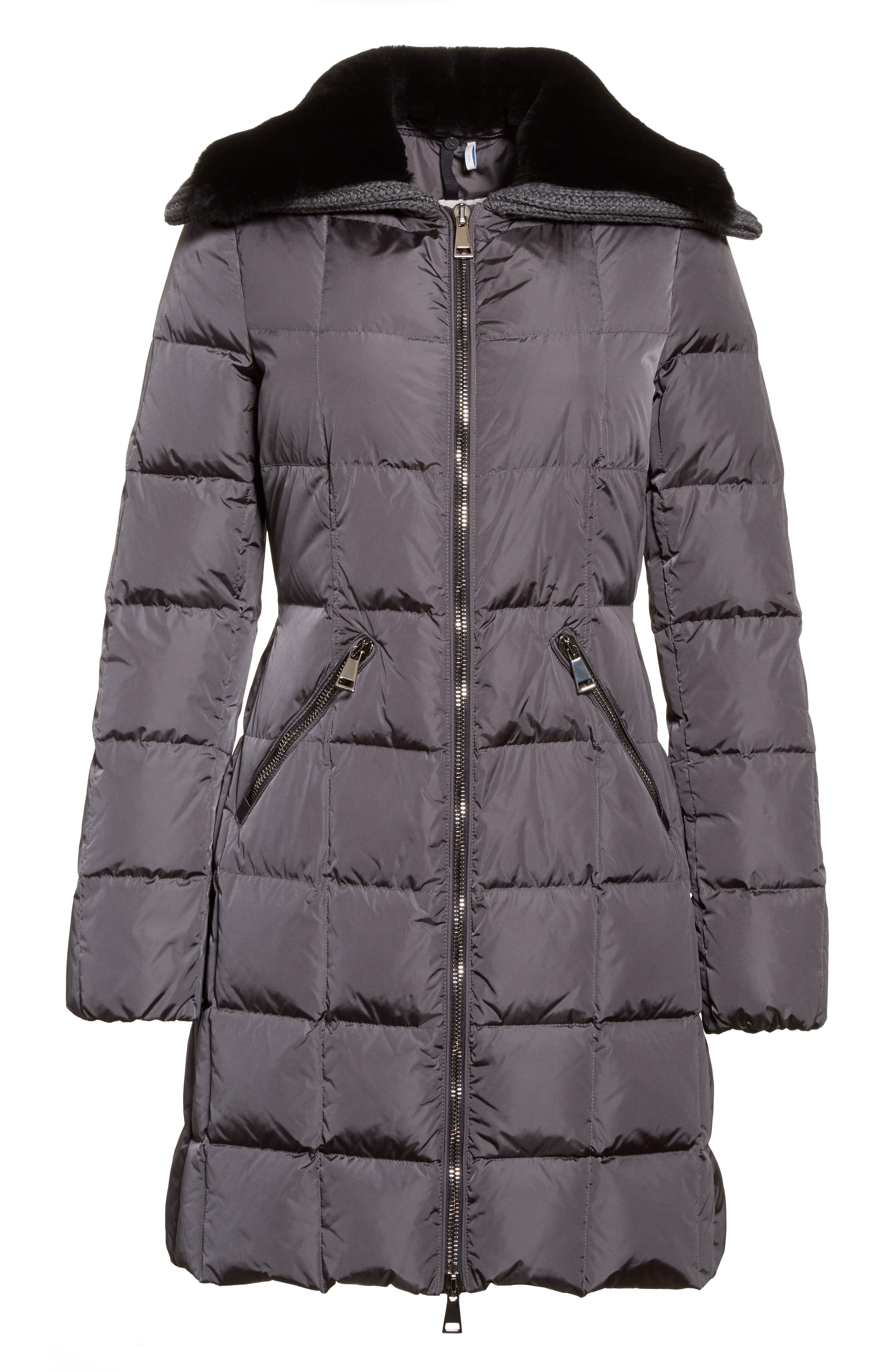 Davidia Quilted Down Coat with Removable Genuine Lamb Fur Collar,                             Alternate thumbnail 5, color,                             GREY