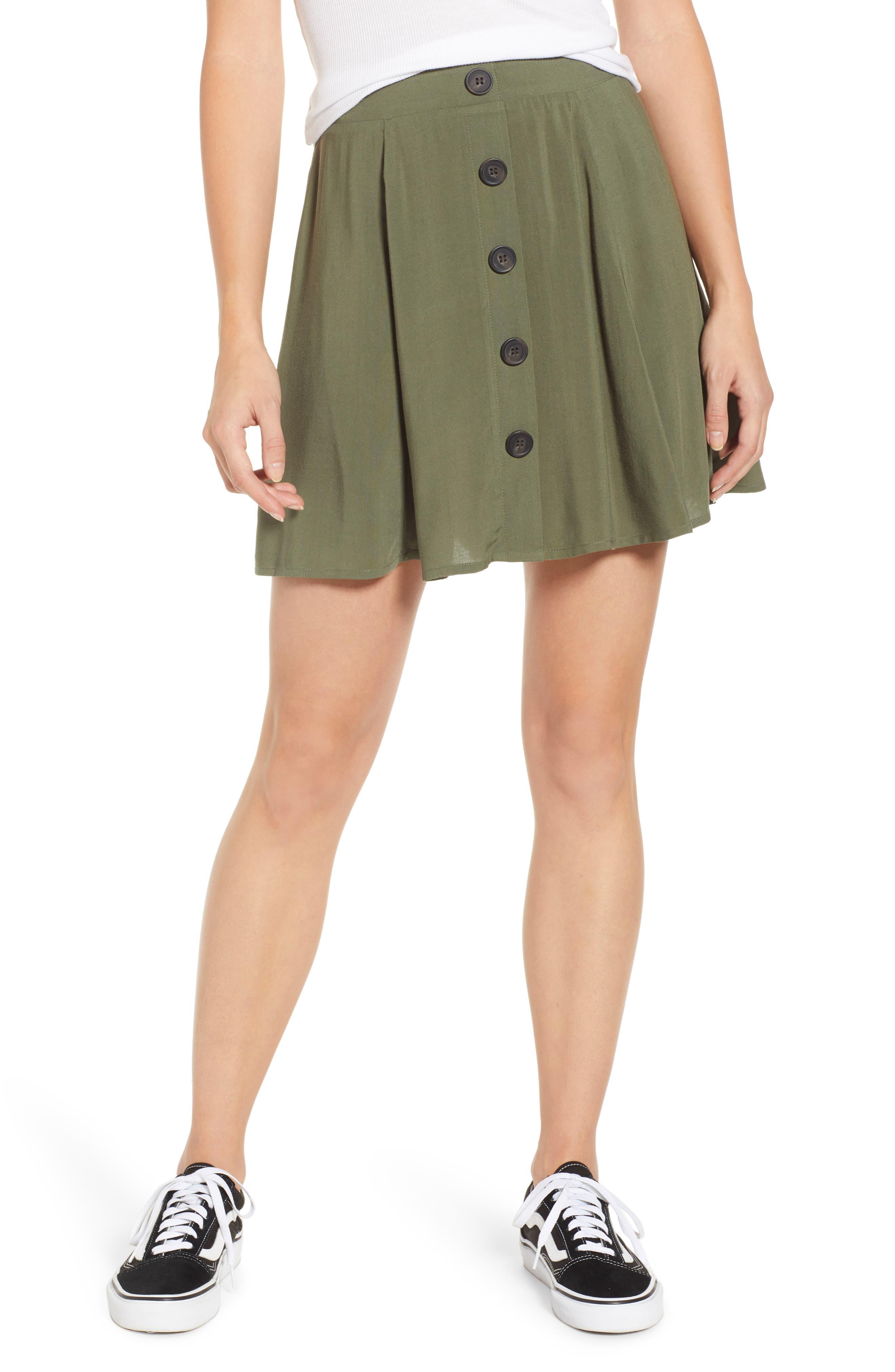 Love, Fire Button Front Skirt, Green