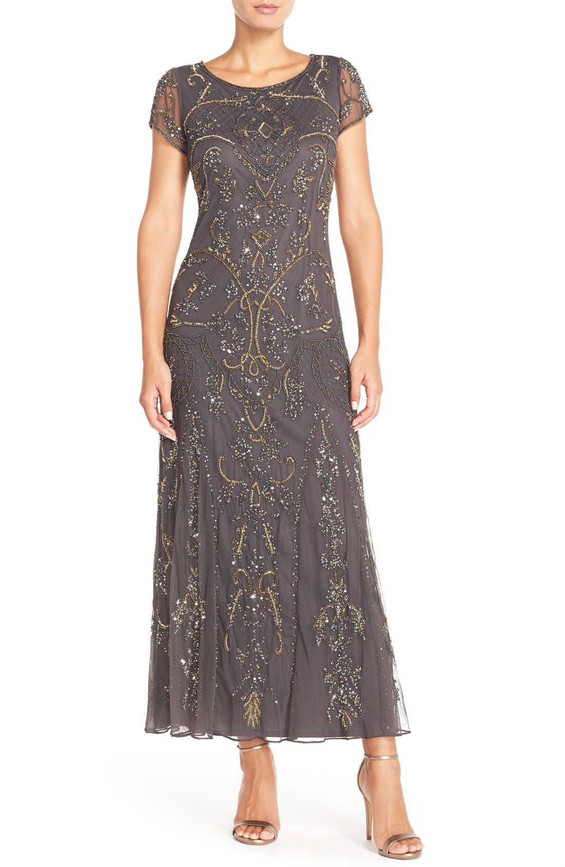 Embellished Mesh Gown,                             Main thumbnail 9, color,