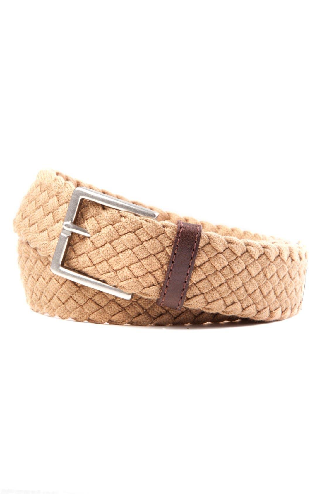 TOMMY BAHAMA Braided Cotton Belt, Main, color, KHAKI