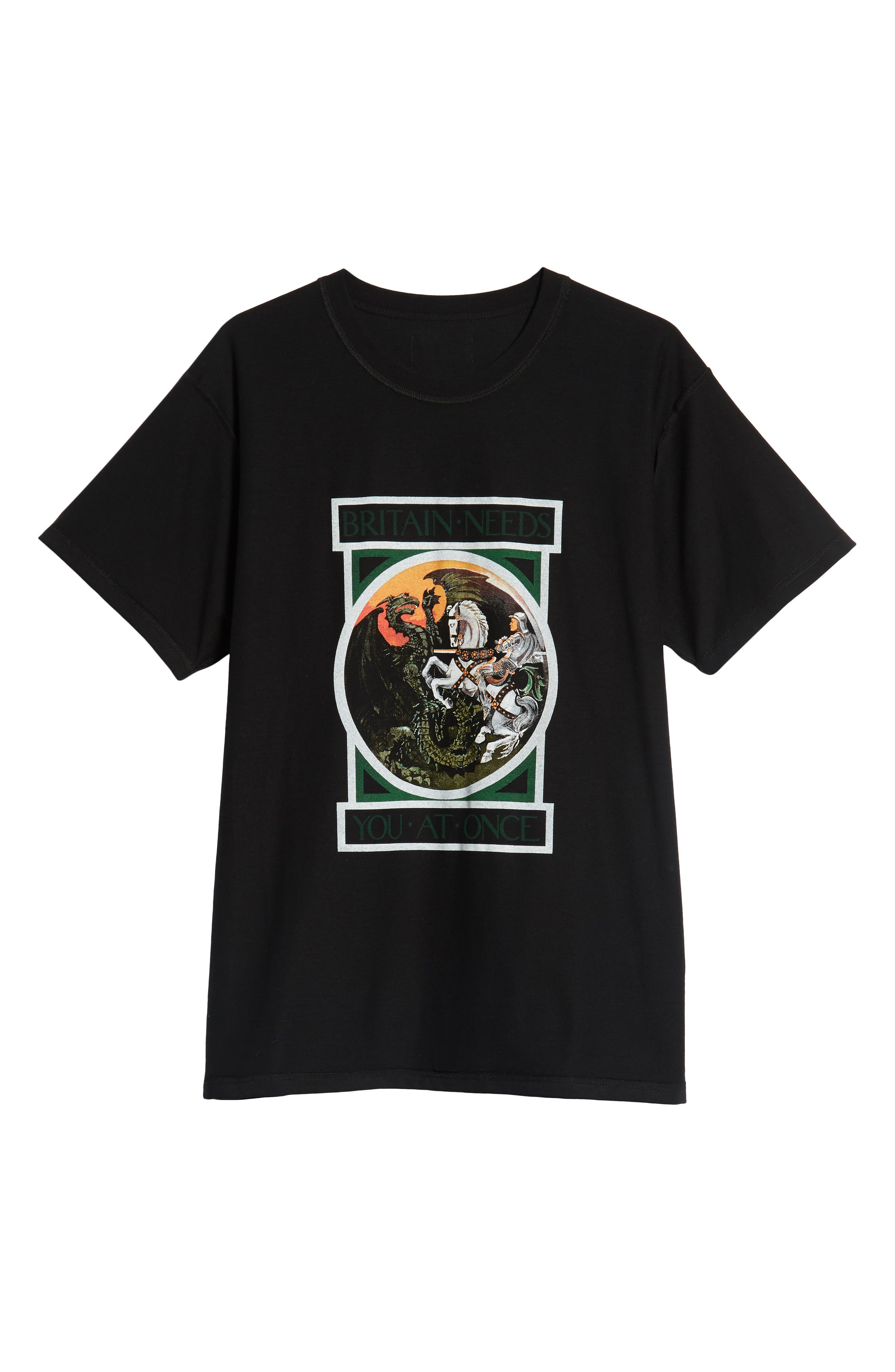 George/Dragon Graphic T-Shirt,                             Alternate thumbnail 6, color,                             BLACK