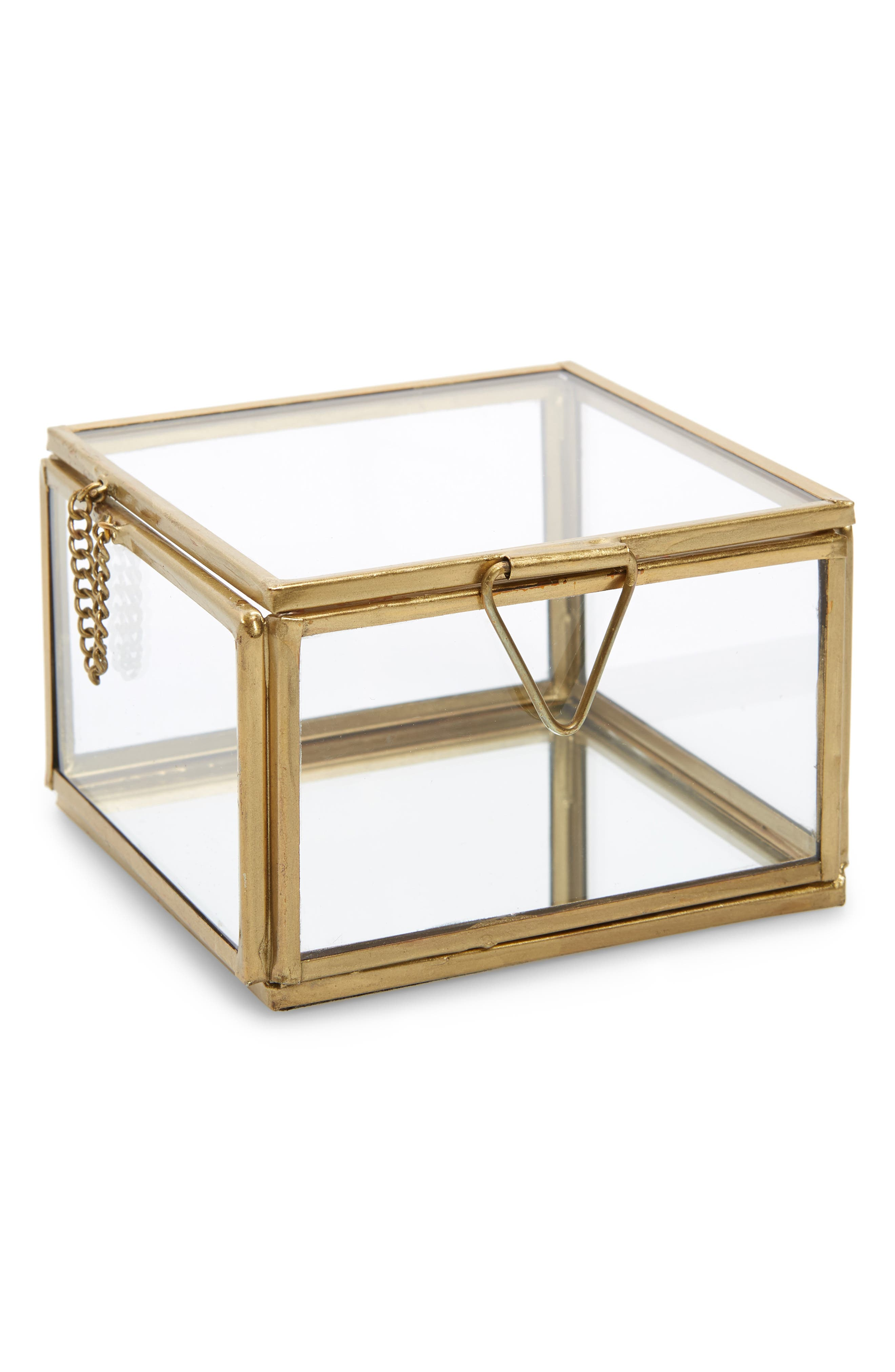 NORDSTROM AT HOME Small Glass Box, Main, color, GOLD