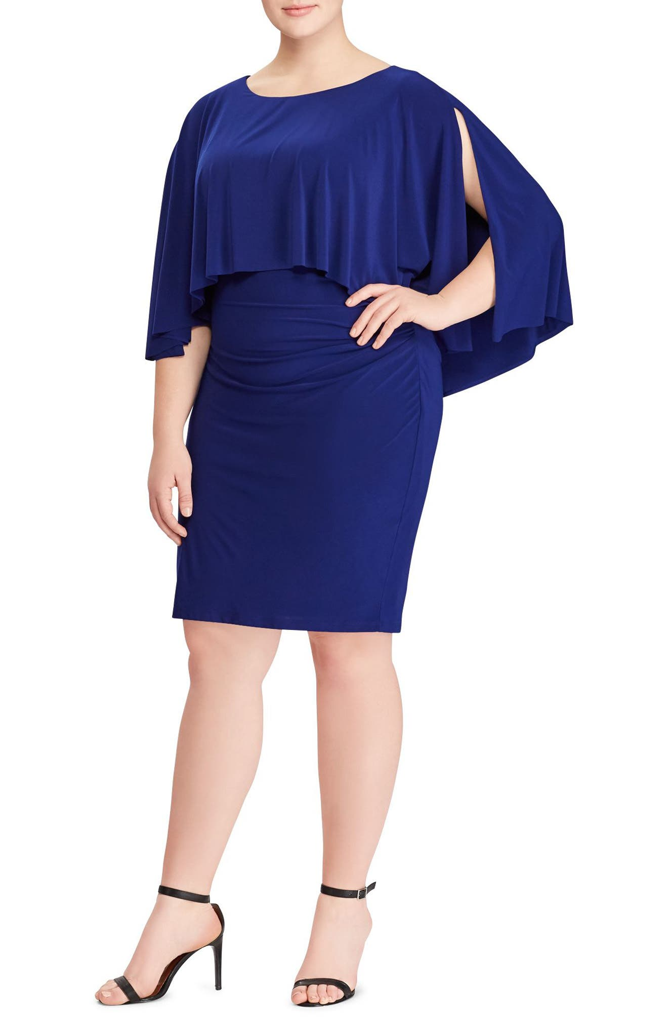 Abriella Cape Sheath Dress,                         Main,                         color, 400