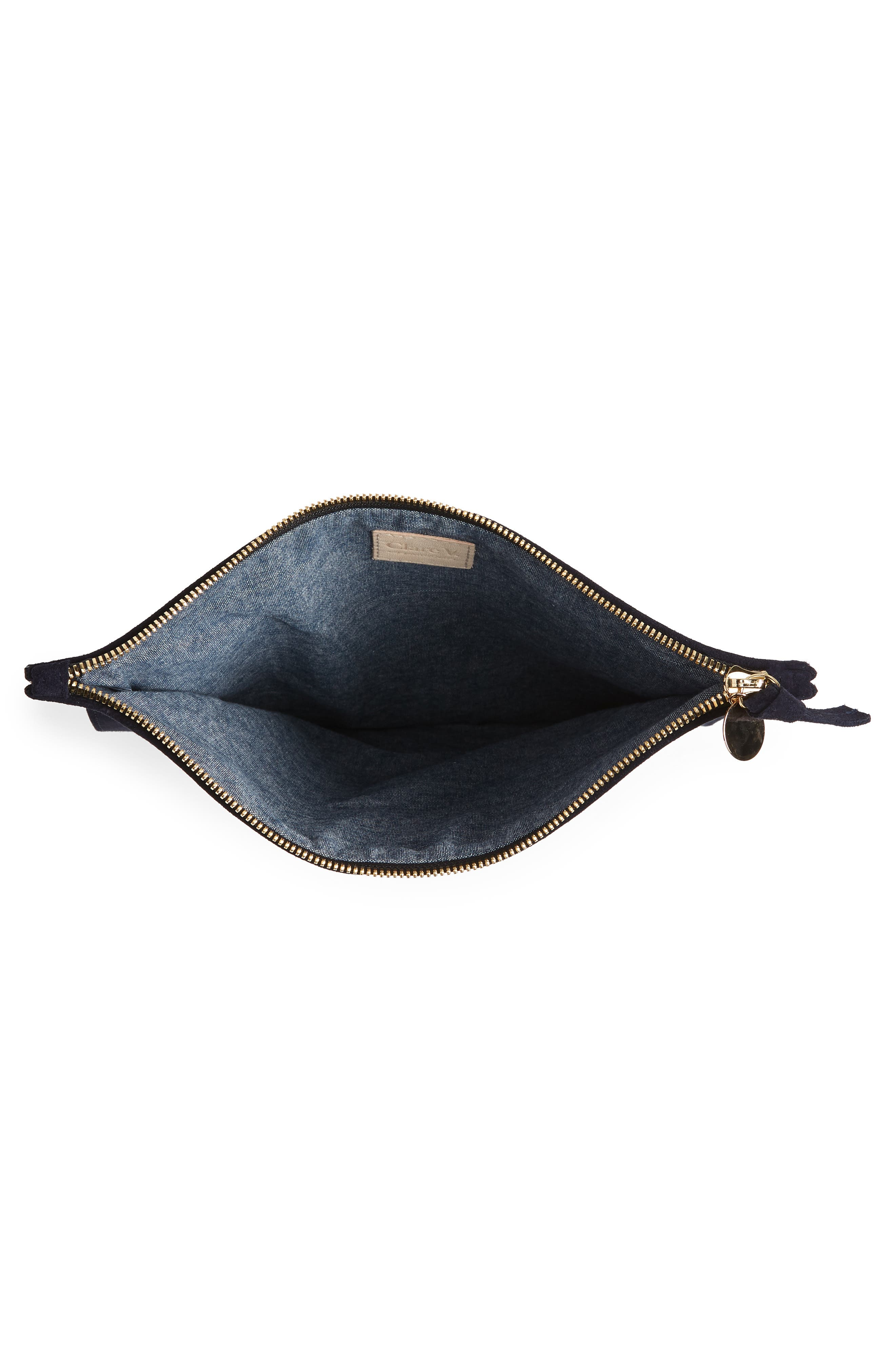 Margot Suede Foldover Clutch,                             Alternate thumbnail 4, color,                             NAVY