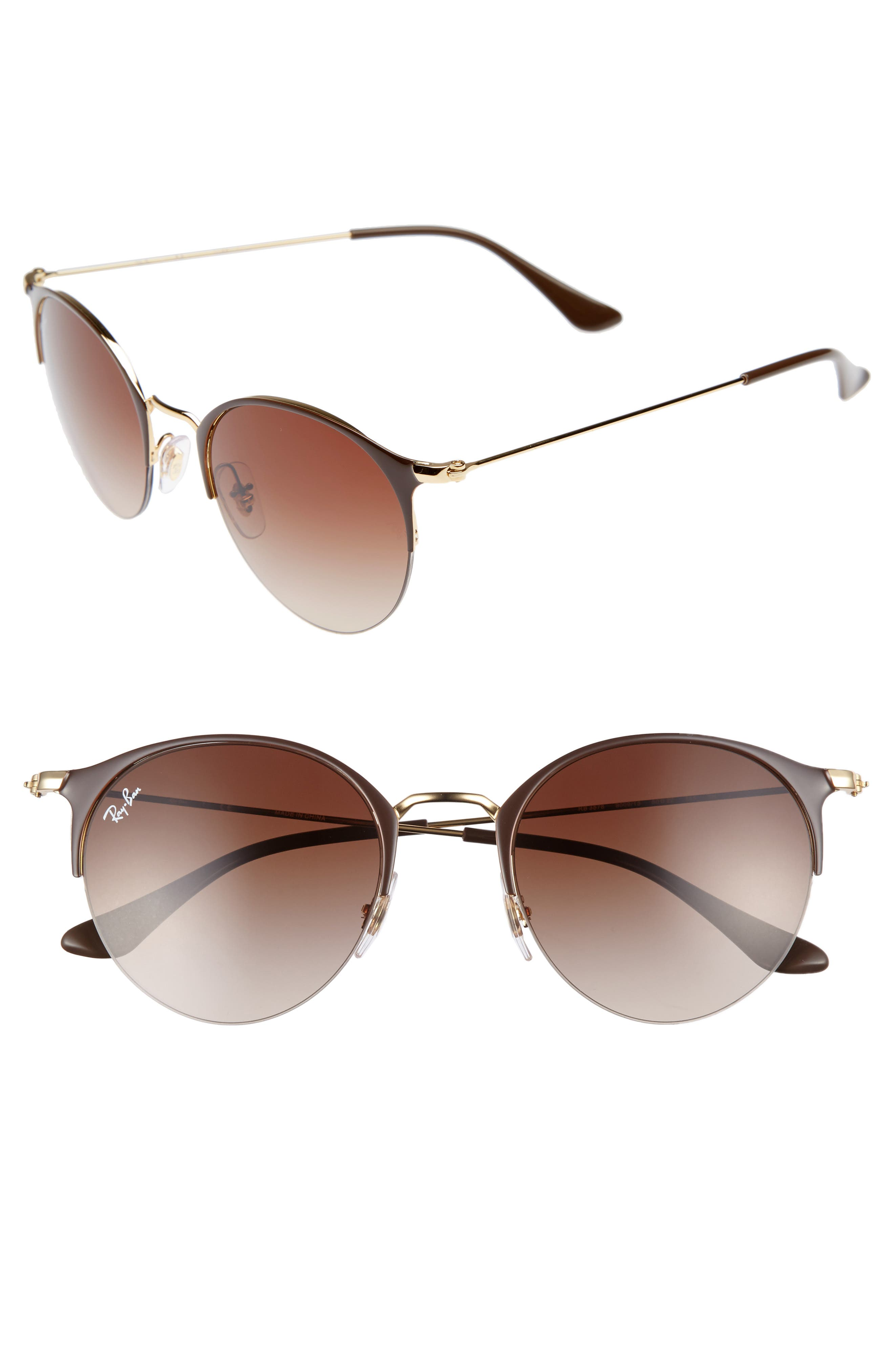 50mm Round Clubmaster Sunglasses,                             Main thumbnail 1, color,                             200