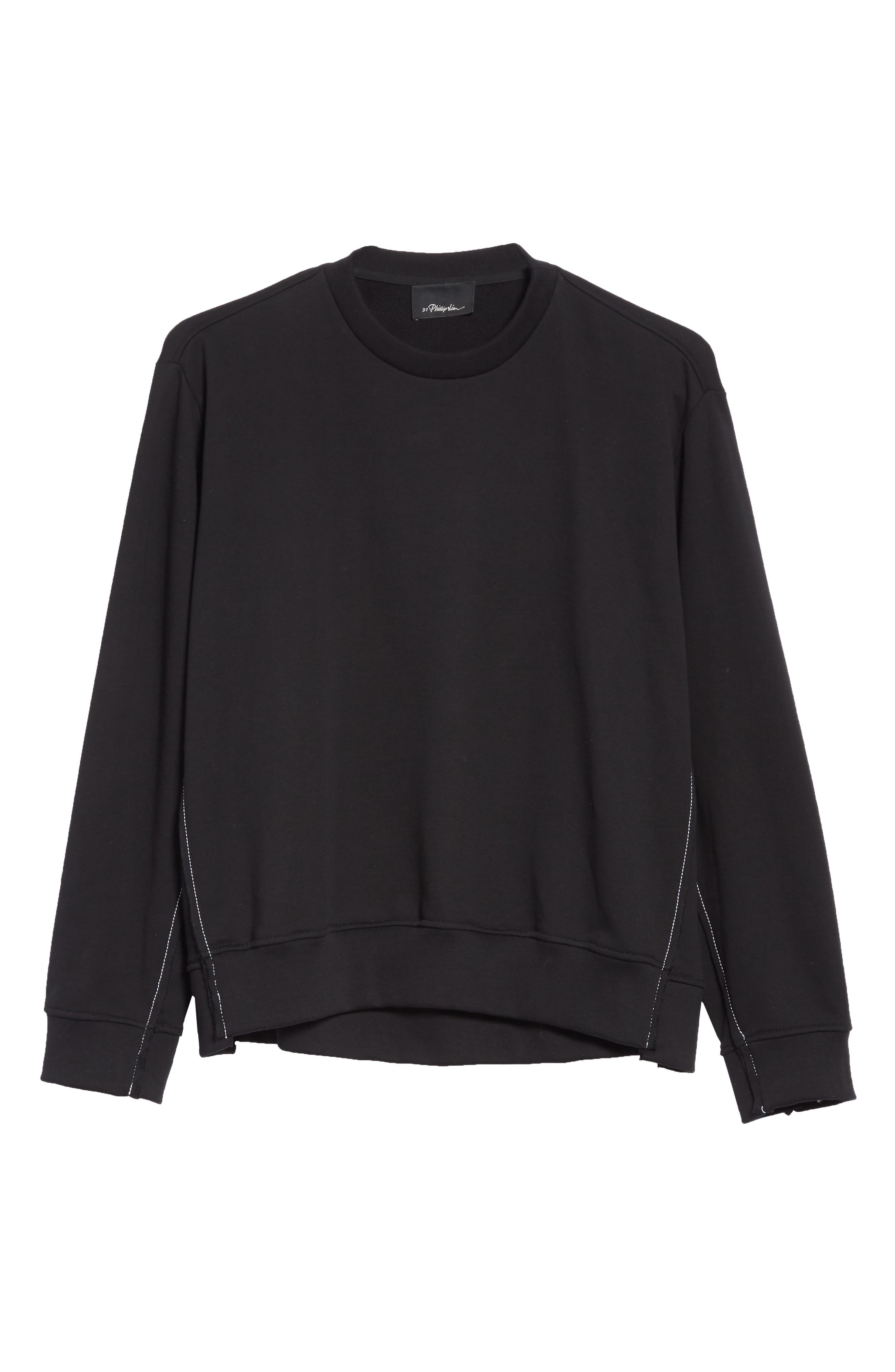 Reconstructed Crewneck Sweatshirt,                             Alternate thumbnail 6, color,                             001