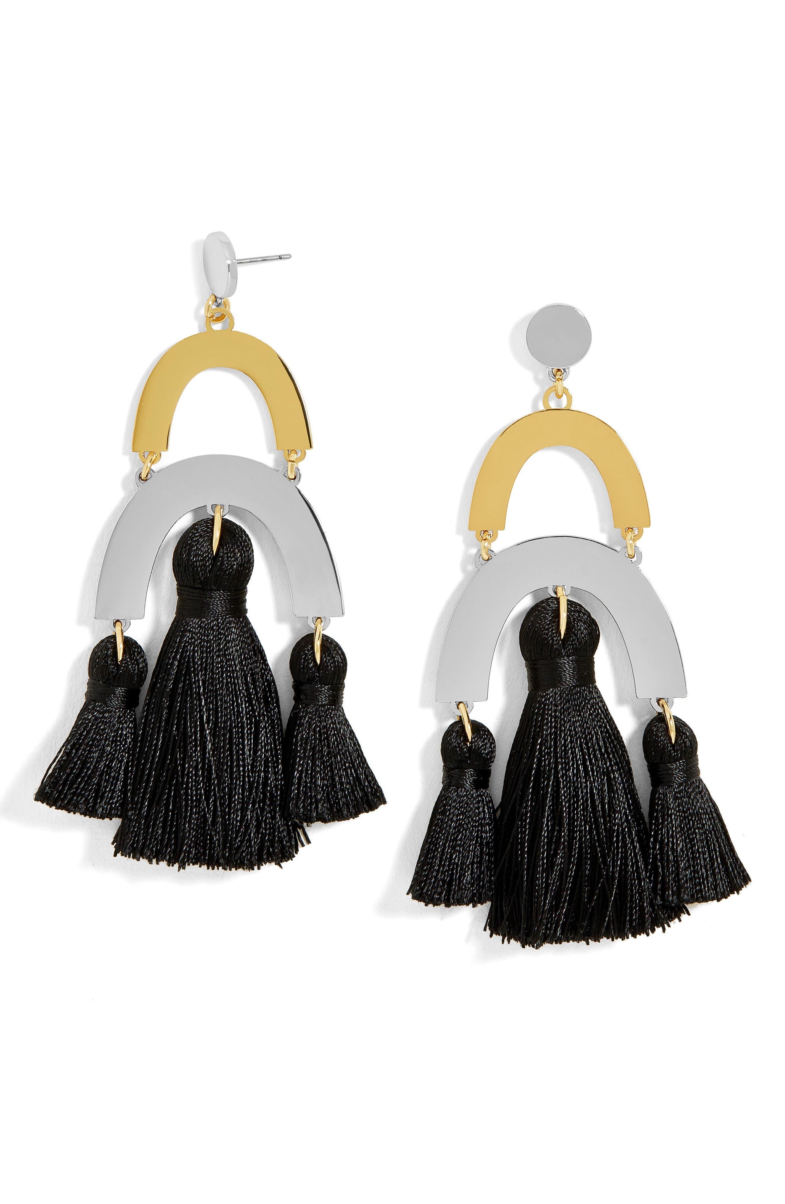 Shamia Tassel Drop Earrings,                             Main thumbnail 1, color,                             001