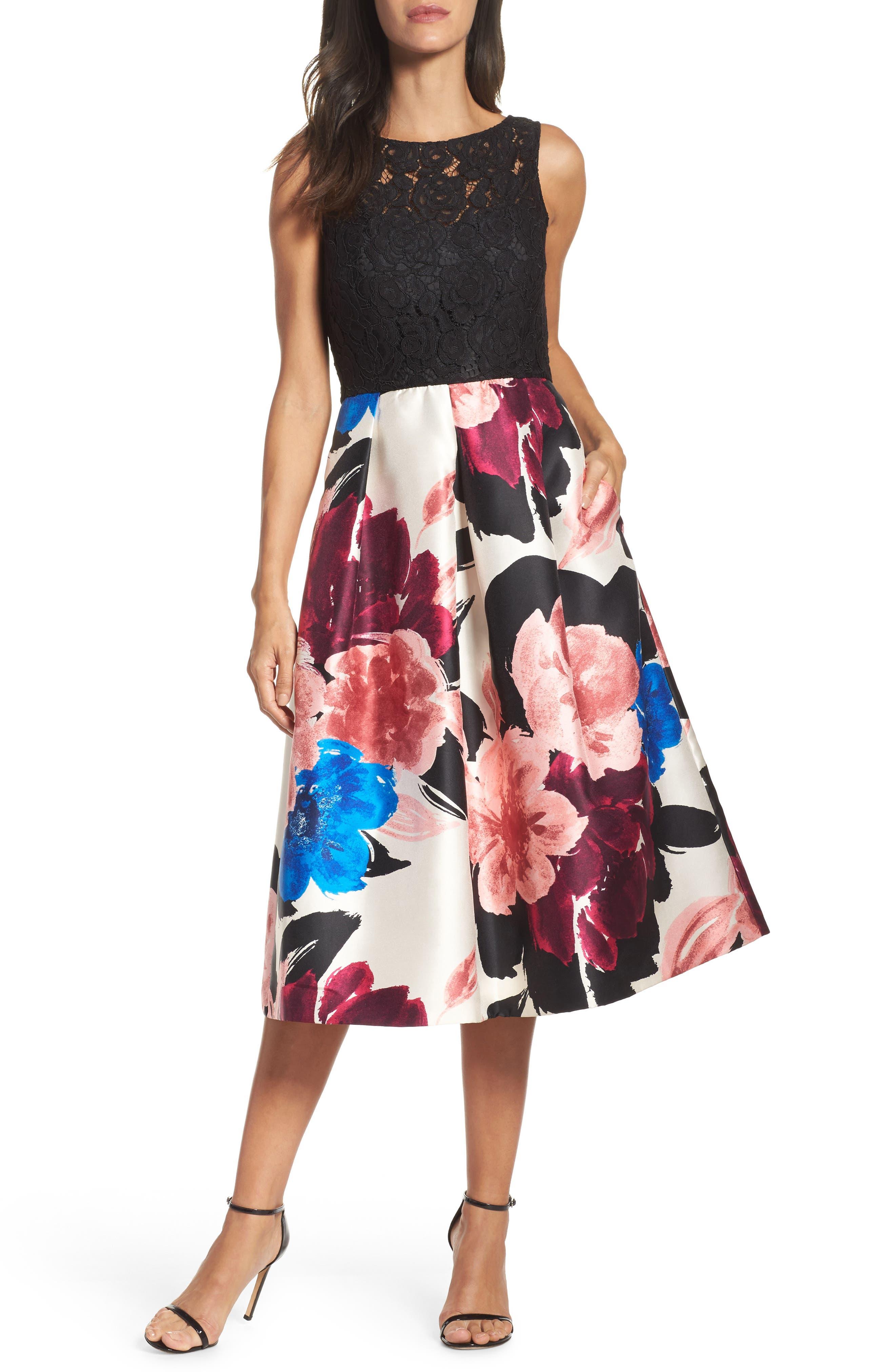 Lace Bodice Midi Dress,                         Main,                         color, 006