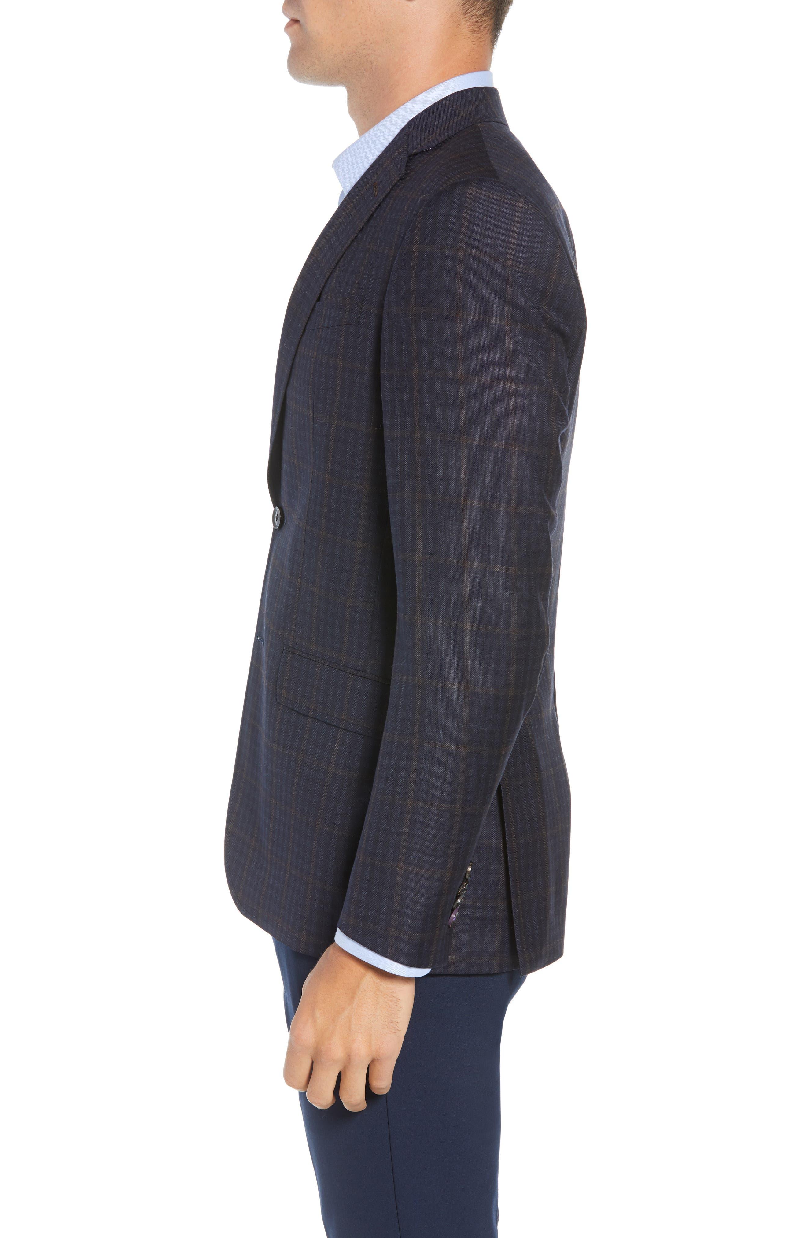 Jay Trim Fit Plaid Wool Sport Coat,                             Alternate thumbnail 3, color,                             NAVY