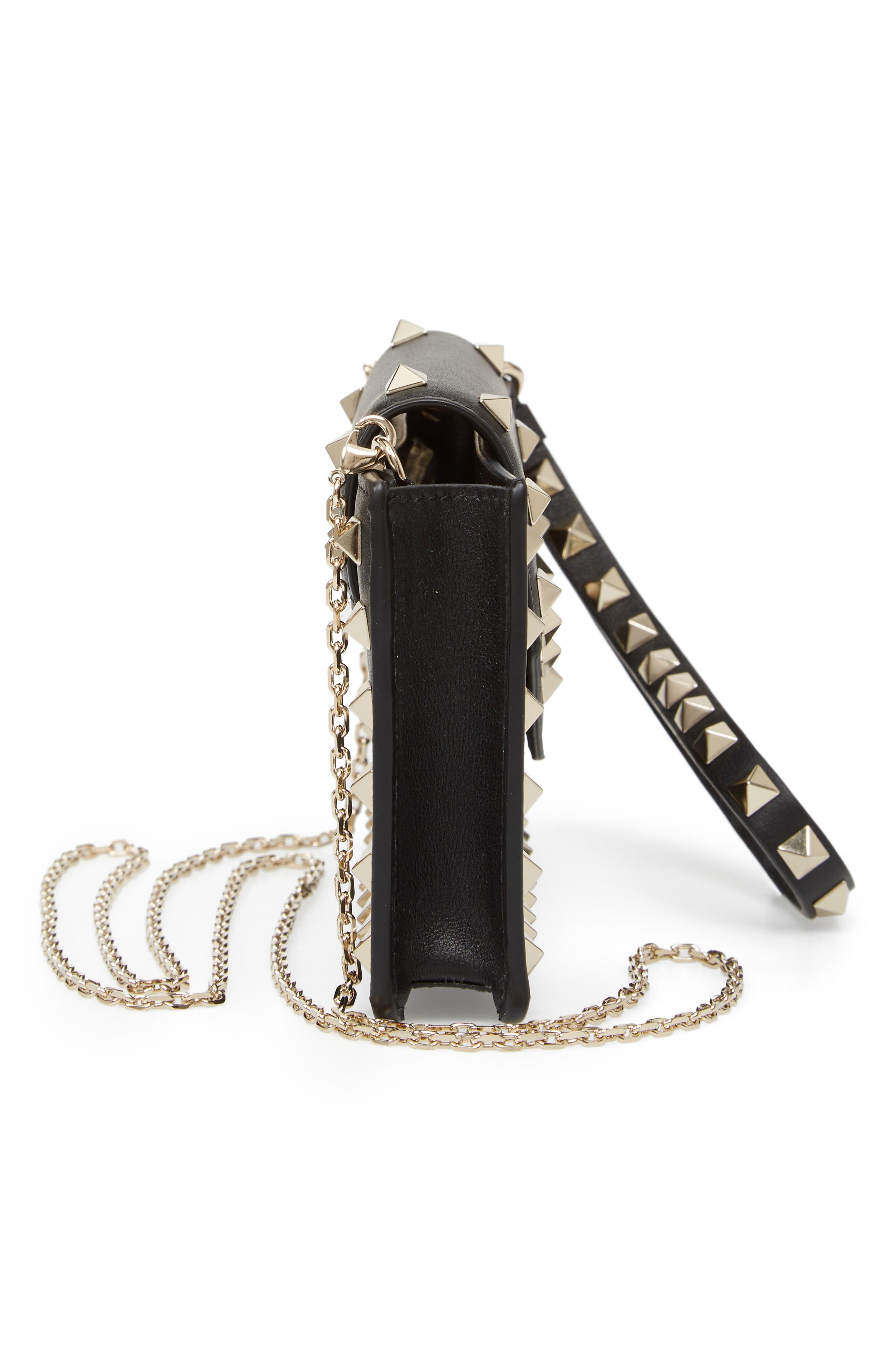Rockstud Leather Smartphone Case,                             Alternate thumbnail 5, color,                             NERO